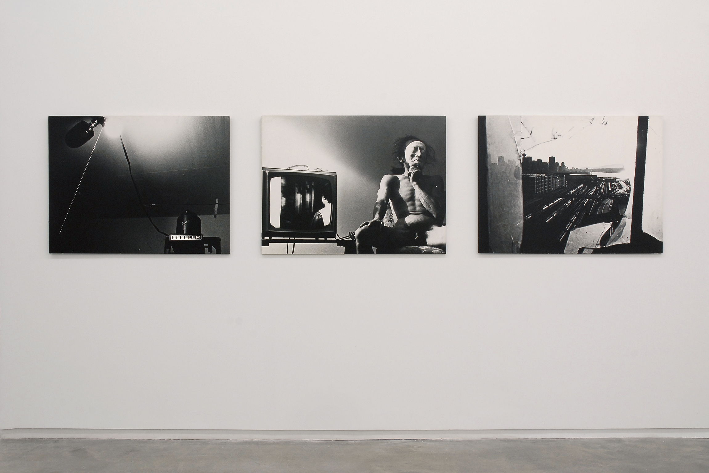 ​Roy Kiyooka, Untitled (From 13 Cameras), 3 panels, silver print photos, paper wrapped on wood panel, each 30 x 40 in. (77 x 102 cm) by