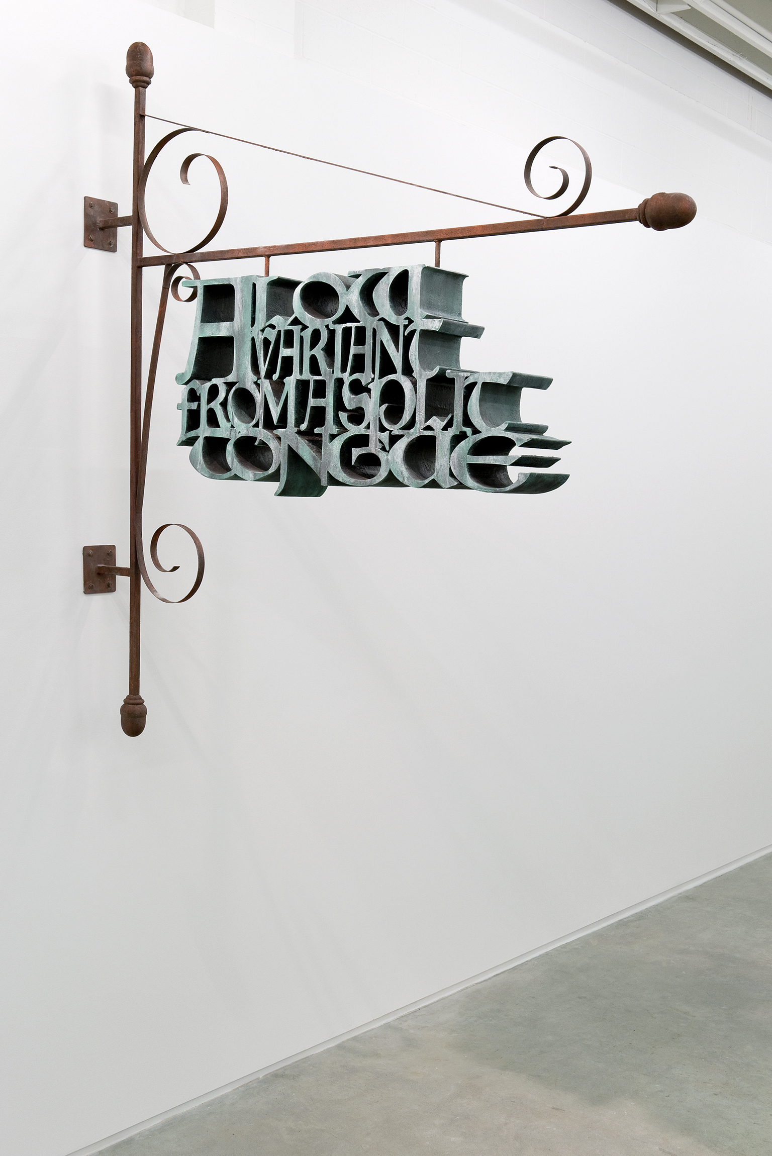 Alex Morrison, A Low Variant from a Split Tongue, 2010, steel, MDF, drywall compound, acrylic paint, 82 x 77 x 7 in. (208 x 196 x 18 cm) by