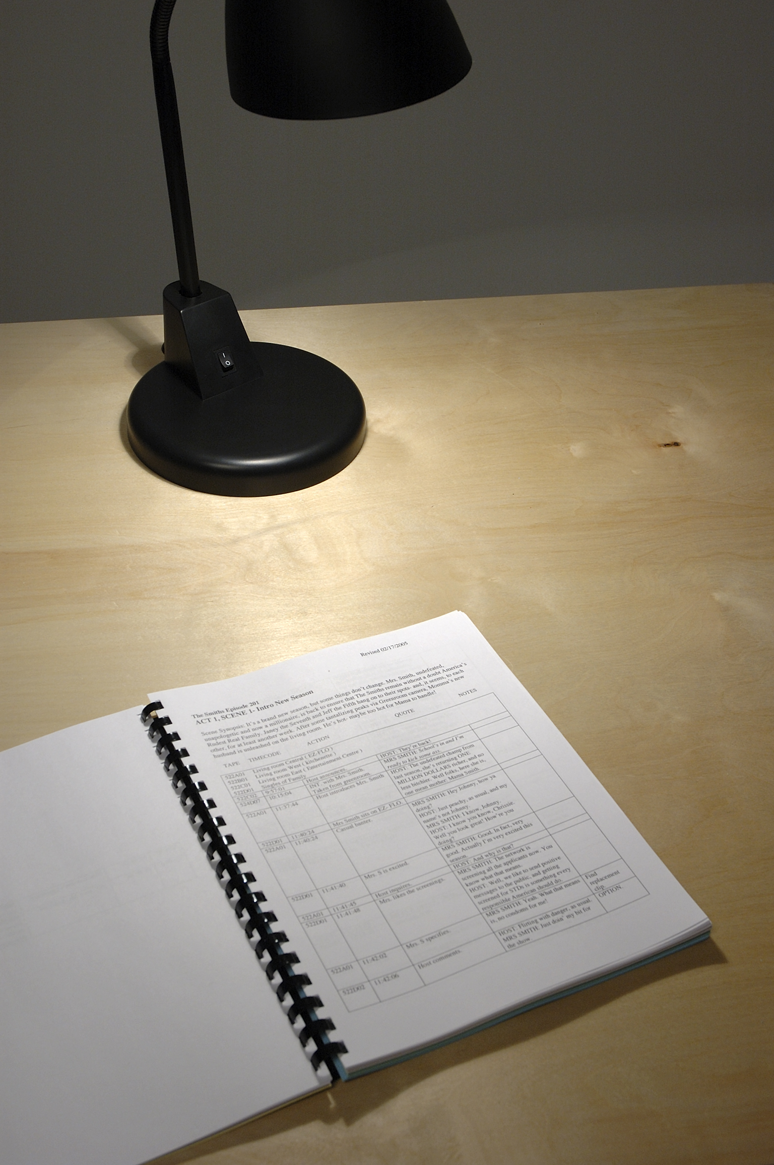 ​Isabelle Pauwels, More or Less Square: A Book in Three Parts, 2006, part one: computer printed log sheets, part two: ledger sheets typed with electronic typewriter, part three: manually typewritten script, timecard, introductions DVD, dimensions variable by