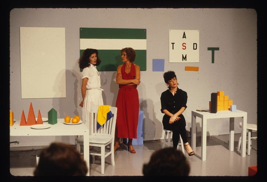 Guy de Cointet, Tell Me, 1979, with Denise Domerguew, Helen Mendez and Jane Zingale, photographic documentation of performance at Rosamund Felsen Gallery, March 1979, each 8 x 12 in. (21 x 30 cm) by
