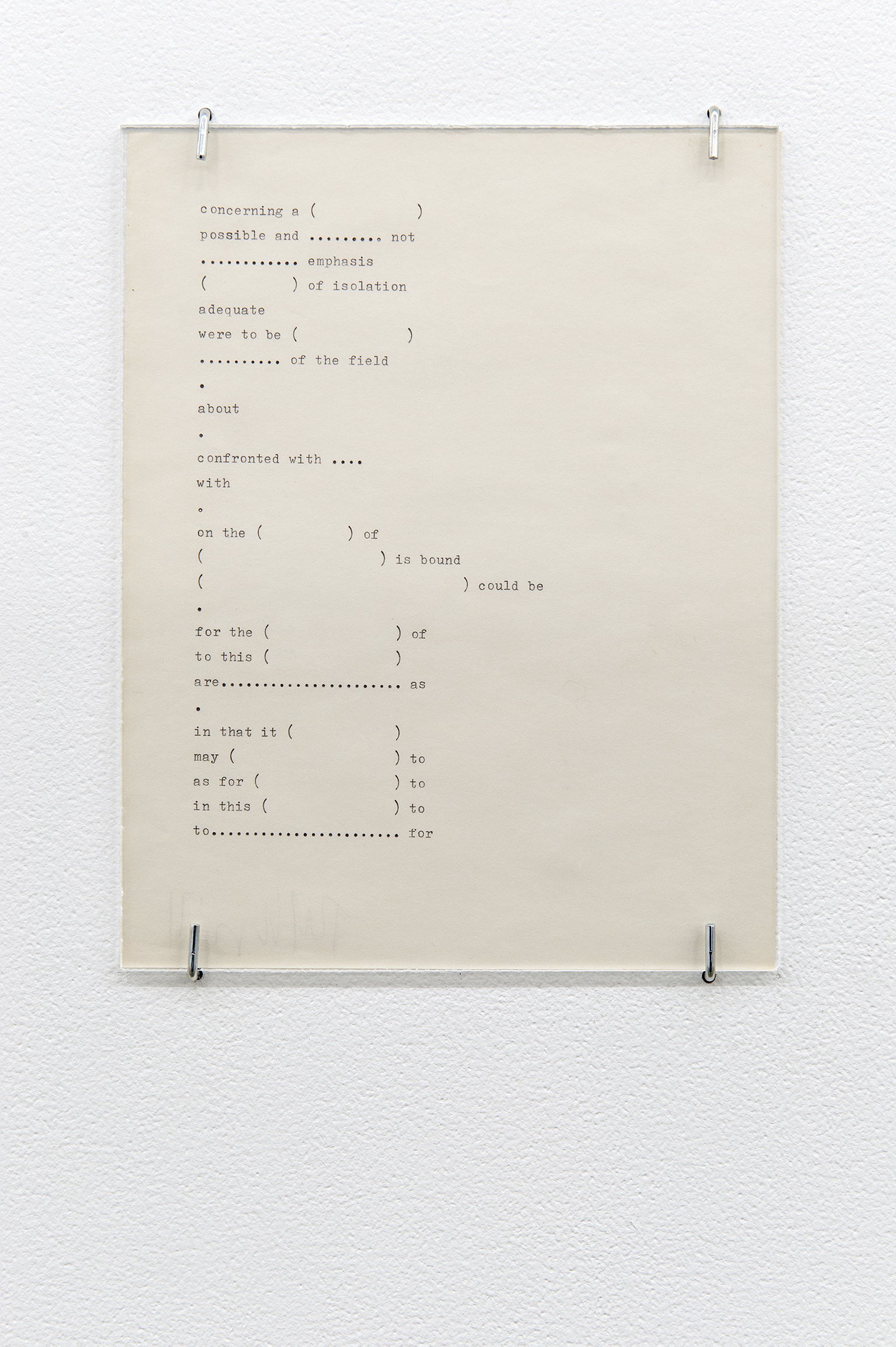 Robert Kleyn, Description, 1971, typescript on paper, 9 x 7 in. (23 x 18 cm)  ​ by