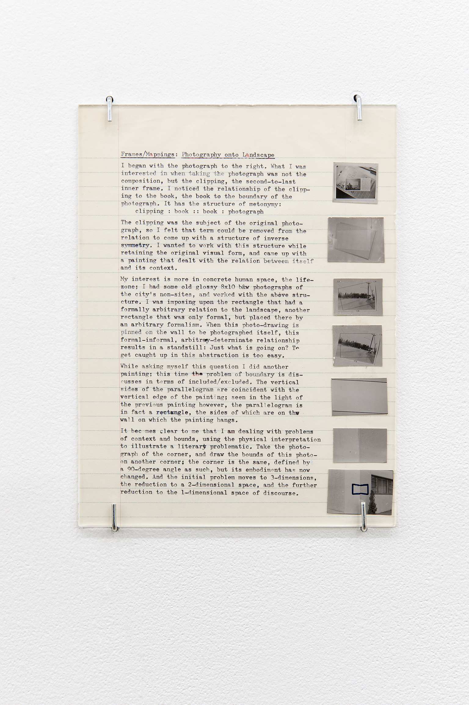 Robert Kleyn, Frames/Mappings: Photography onto Landscape, 1972, typescript, photographs on paper, 9 x 7 in. (23 x 18 cm)   by