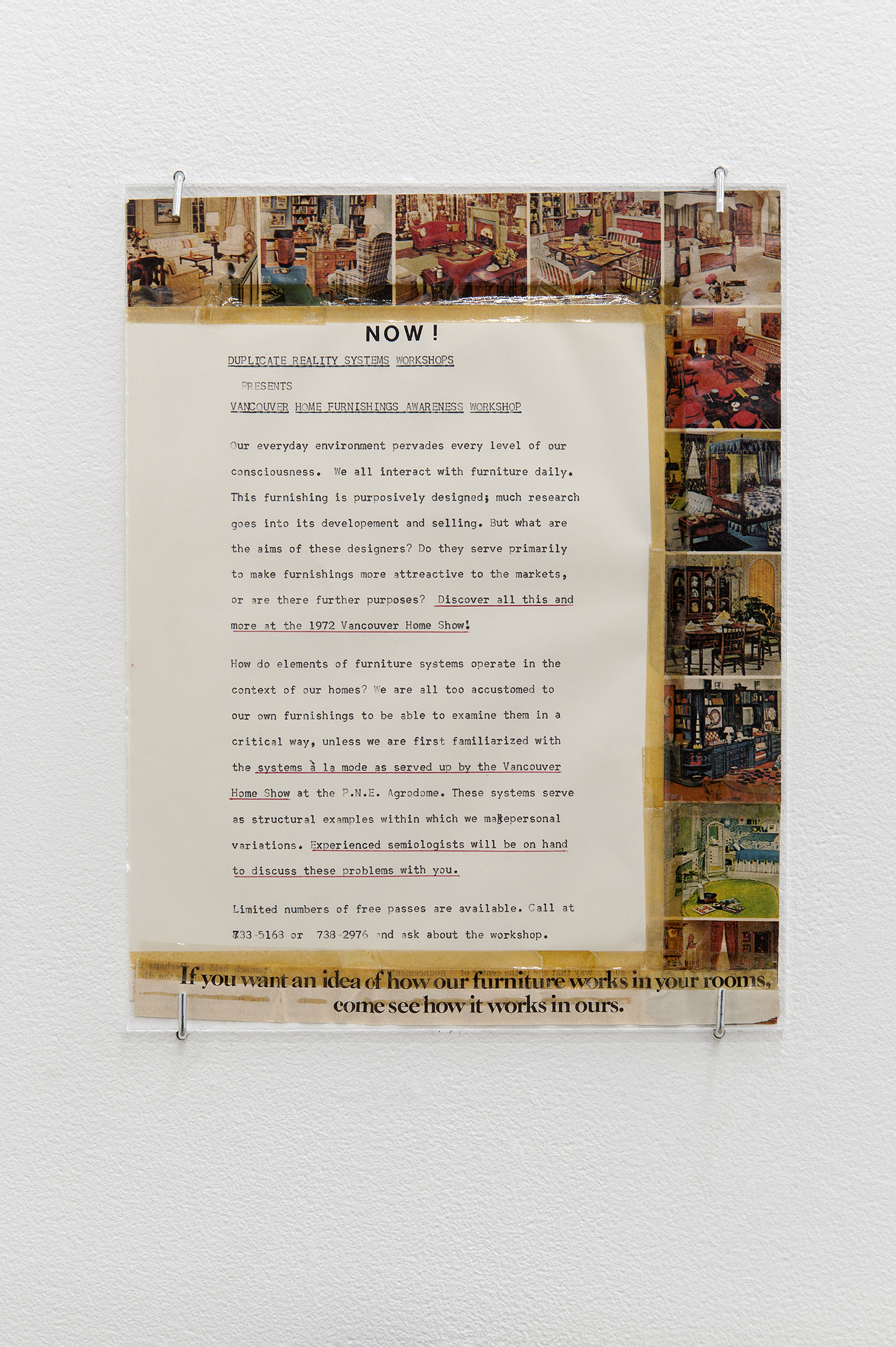 Robert Kleyn, Now! Duplicate Reality Systems Work Shops Presents Vancouver Home Furnishings, 1972, typescript, taped magazine cut-outs, 11 x 9 in. (27 x 22 cm) by