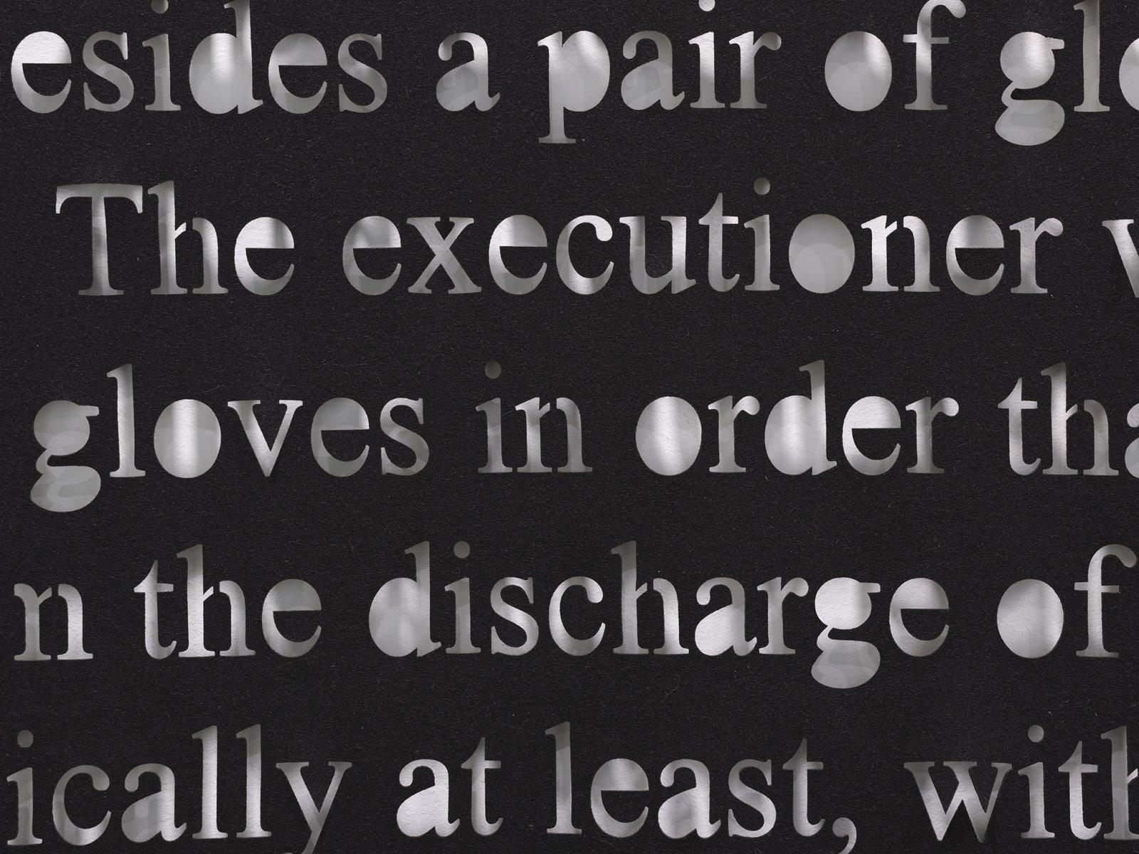 Abbas Akhavan, Appendix G: Charange: Dictionnaire des Titres Originaux. Paris, 1764. Tome II. p. 72. Also Statistique de Falaise, 1827. Tome I. p. 63 (detail), 2019, laser-cut wool, 119 x 104 in. (302 x 264 cm) by Abbas Akhavan