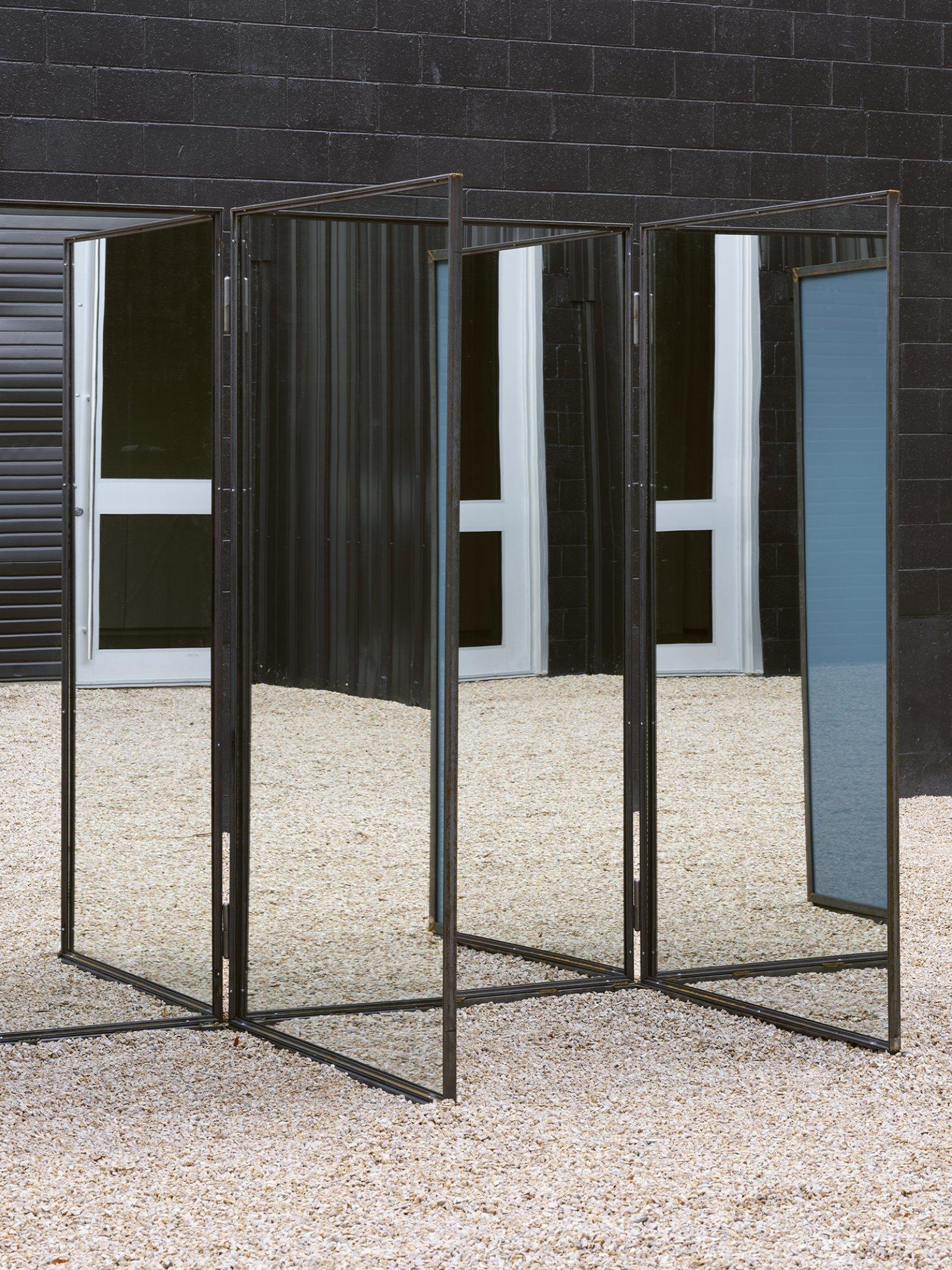 Abbas Akhavan, Trough (detail), 2019, steel, mirrors, 84 x 150 x 48 in. (213 x 380 x 122 cm) by Abbas Akhavan