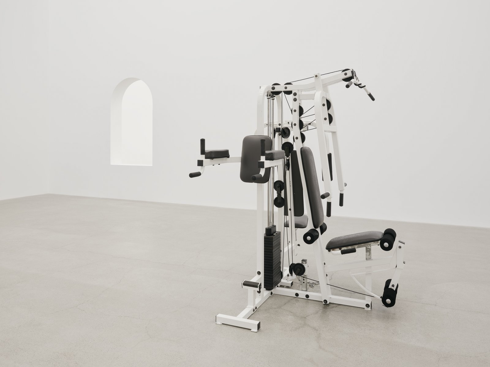 Abbas Akhavan, not titled, 2019, gym equipment, misting system, automatic water timer, water, installation dimensions variable by Abbas Akhavan