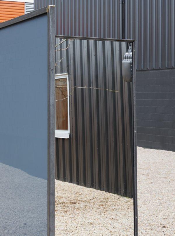 Abbas Akhavan, Trough (detail), 2019, steel, mirrors, 84 x 150 x 48 in. (213 x 380 x 122 cm)