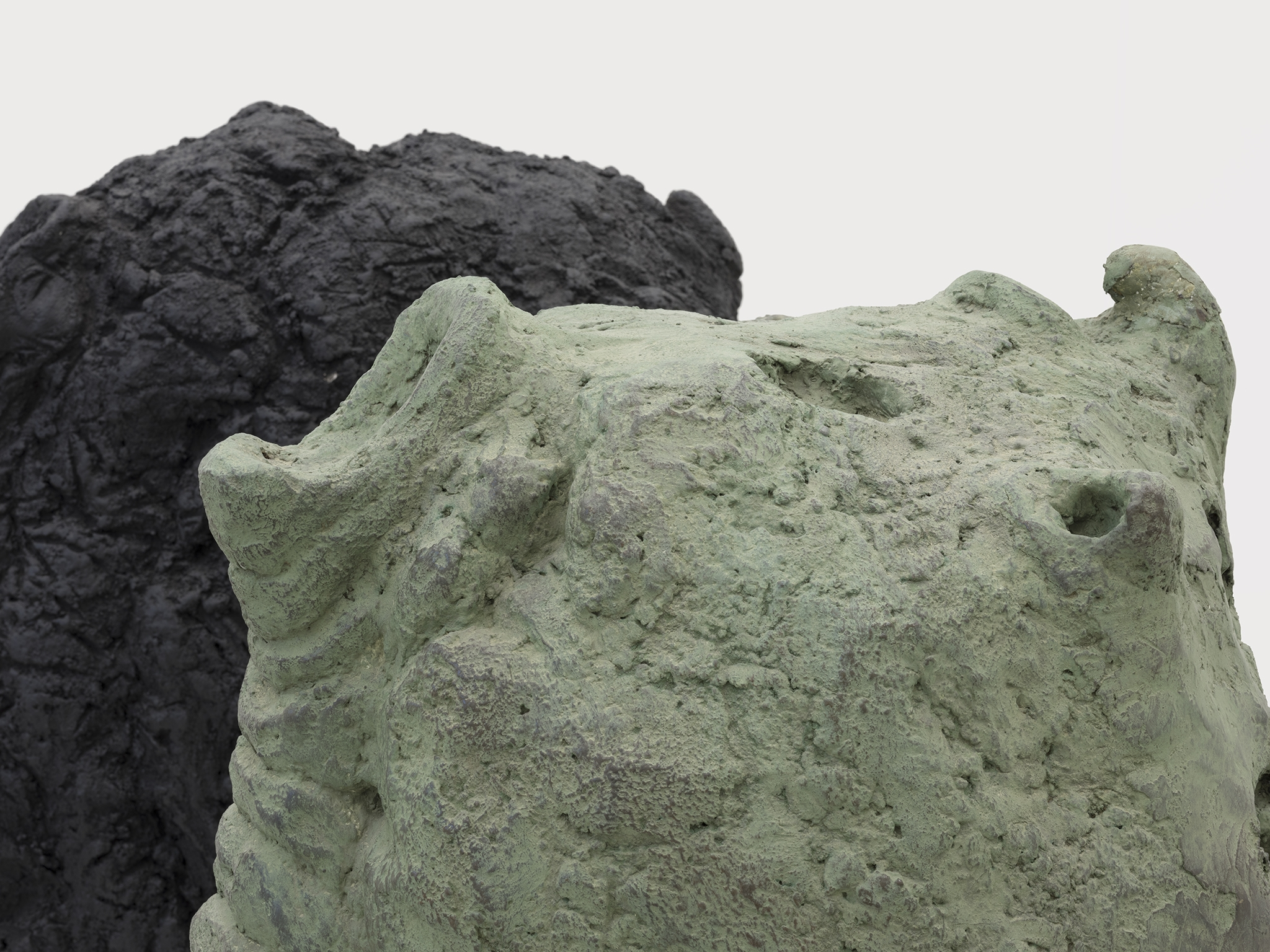 Valérie Blass, Éléphant en vert et noir (detail), 2005, cement, plaster, leather, 46 x 71 x 41 in. (117 x 180 x 104 cm) by