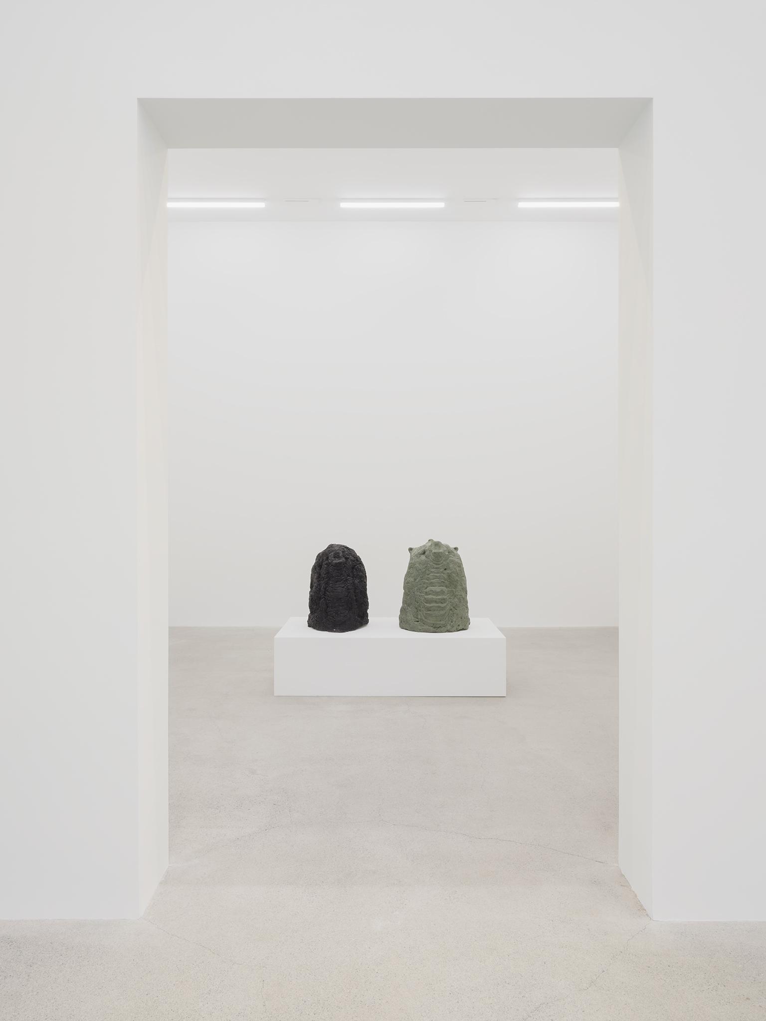 Valérie Blass, Éléphant en vert et noir, 2005, cement, plaster, leather, 46 x 71 x 41 in. (117 x 180 x 104 cm) by