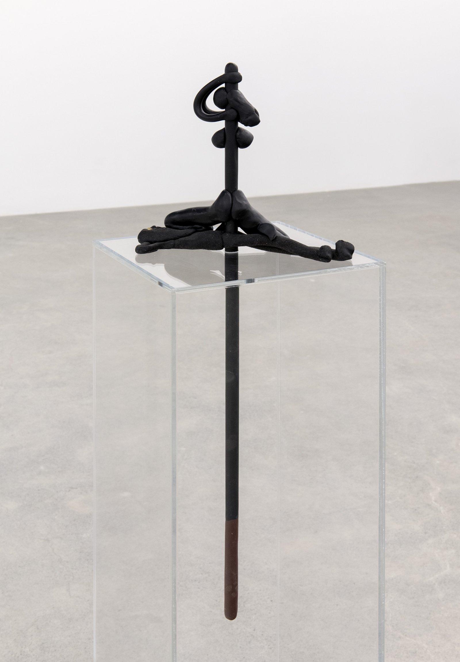 Valérie Blass, Dire à jamais qu'une seule chose à jamais la même chose, 2015, sculpting epoxy dough, sand, fool's gold, plexiglas, metal, 51 x 10 x 10 in. (130 x 24 x 24 cm) by Valérie Blass