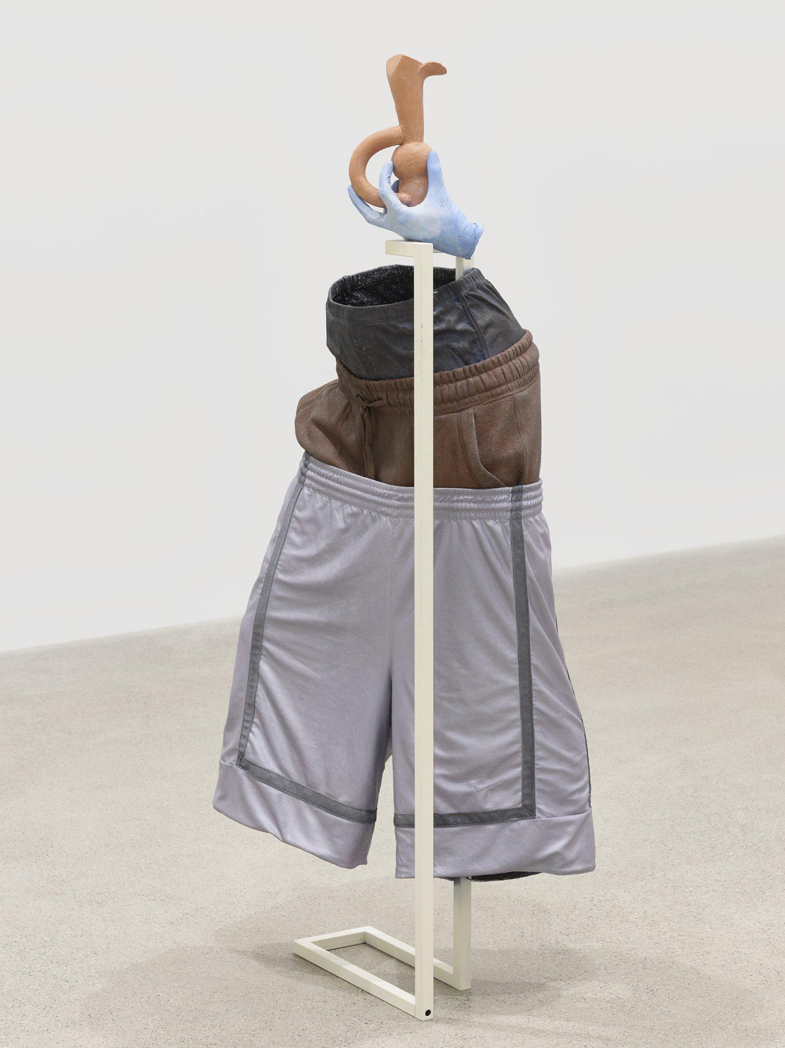 """Valérie Blass, Pourquoi appelle-t-on un trou noir, un """"trou noir""""?, 2019, ceramic, acrylic, oil, gouache, metal, clothing, resin, epoxy, 52 x 20 x 16 in. (132 x 51 x 41 cm) by Valérie Blass"""