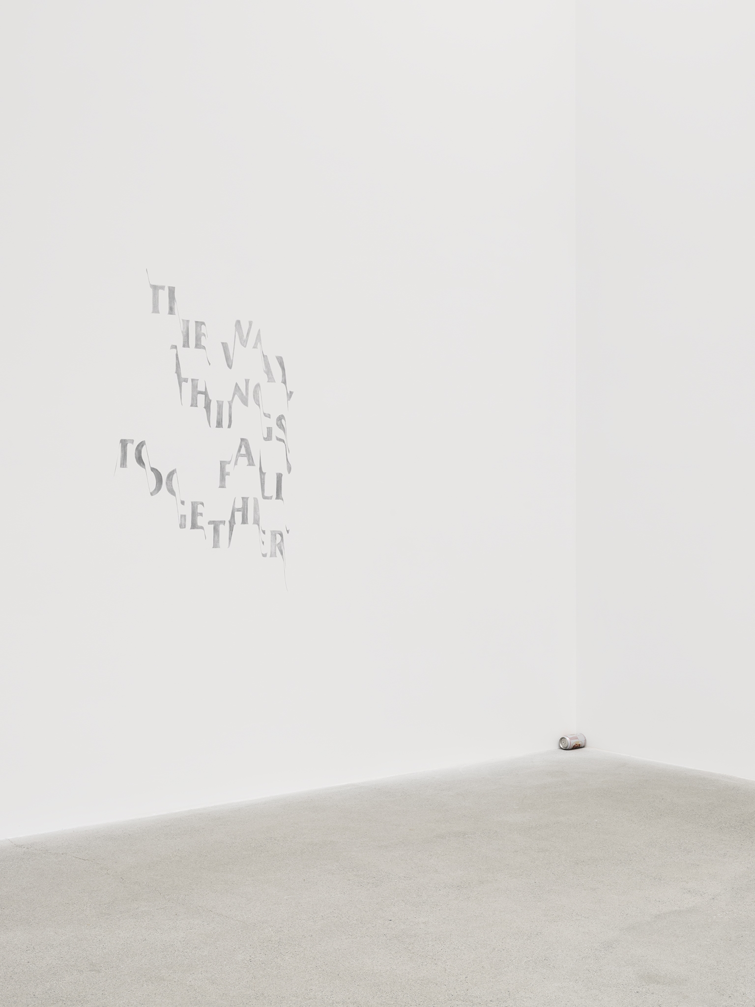 ​Raymond Boisjoly, Clinamen, 2019, lucky lager beer can on wall, 44 x 31 in. (112 x 79 cm) by