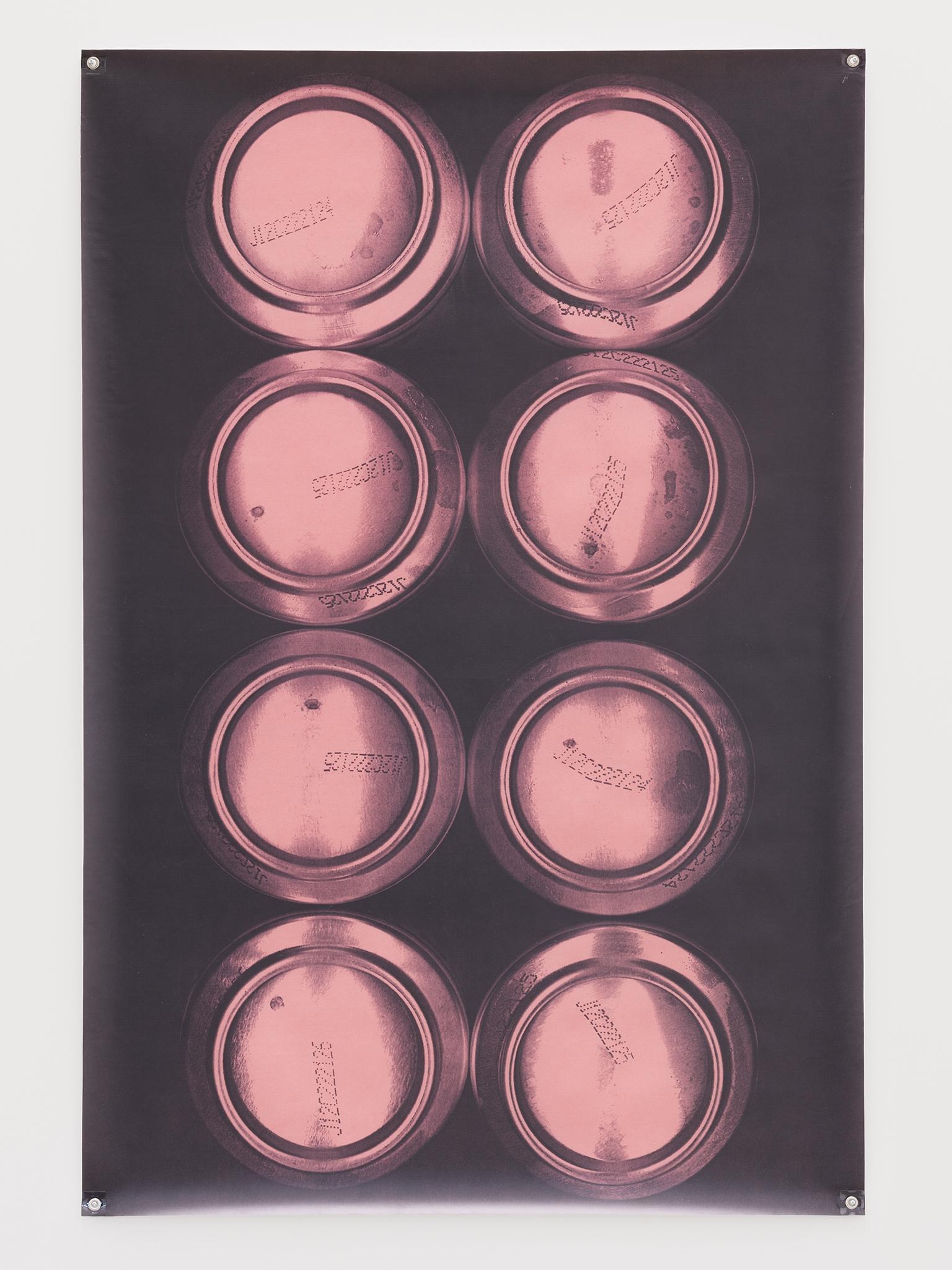 Raymond Boisjoly, Lucky X Lager 8, 2012–2016, solvent based inkjet print on vinyl, grommets, 72 x 48 in. (183 x 122 cm) by