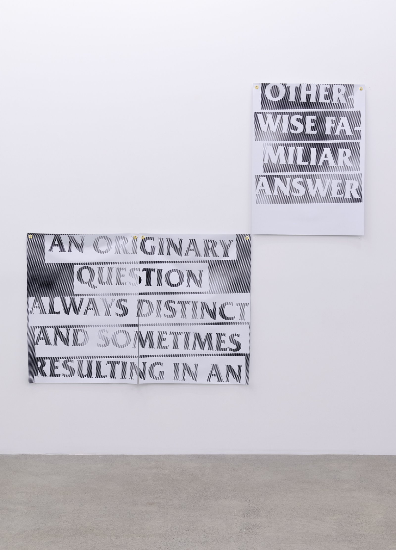 Raymond Boisjoly, Otherwise Familiar Answer, 2016, solvent-based inkjet print on vinyl, grommets, each panel 90 x 80 in. (228 x 203 cm) by Raymond Boisjoly