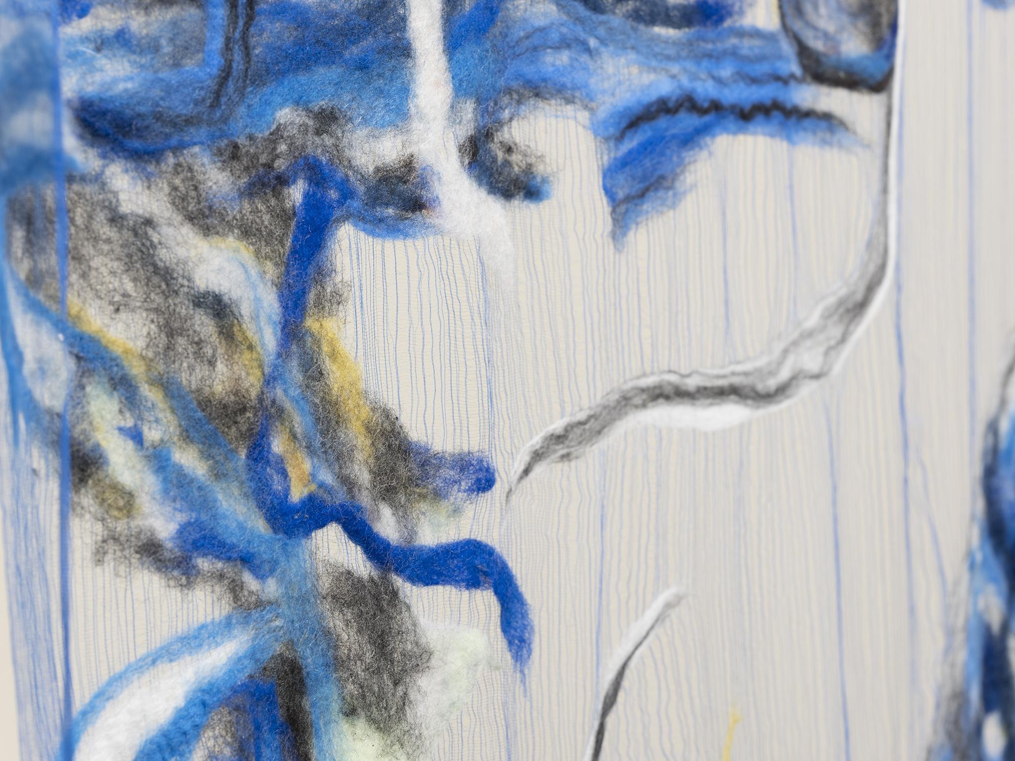 Rebecca Brewer, Scrim: Dagger (detail), 2019, silk gauze, wool, ball chain, alligator clips, 132 x 45 in. (335 x 113 cm) by