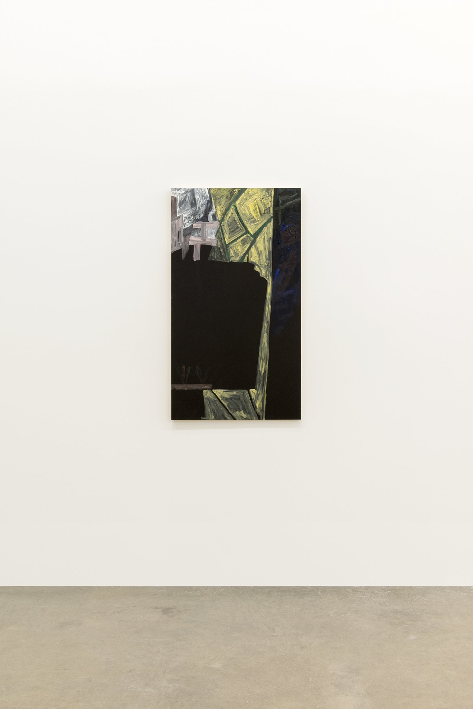 Rebecca Brewer, Backwards Glass, 2014, oil on panel, 42 x 24 in. (107 x 60 cm)
