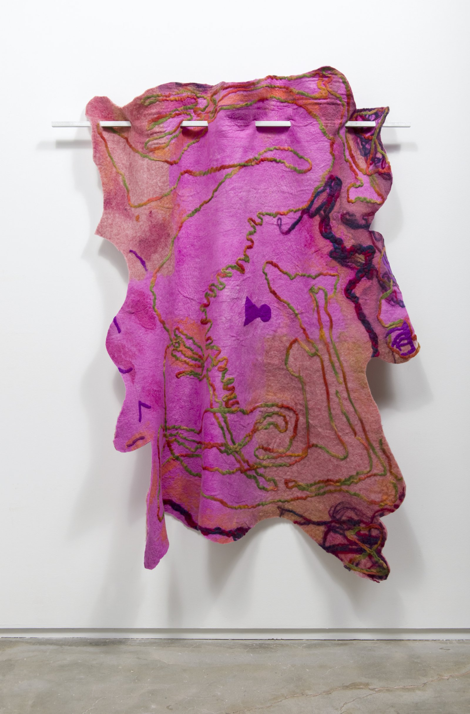 Rebecca Brewer,Bellmer, 2016, wool felt, metal, 77 x 55 in. (196 x 140 cm)