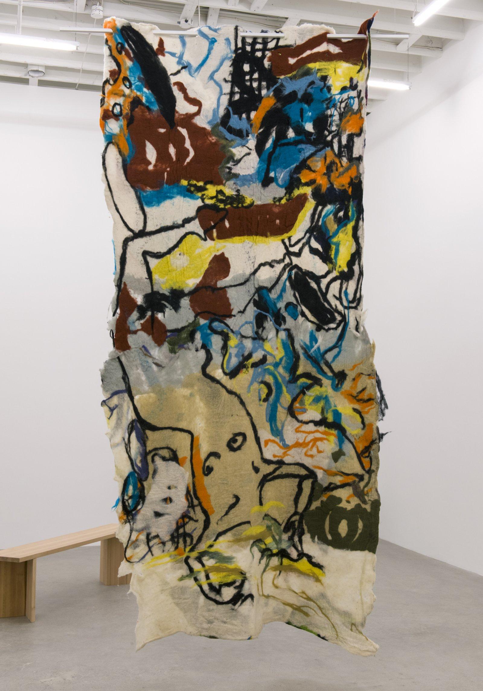 Rebecca Brewer, Bilitis, 2016, wool felt, painted aluminum, 132 x 63 in. (335 x 160 cm) by Rebecca Brewer