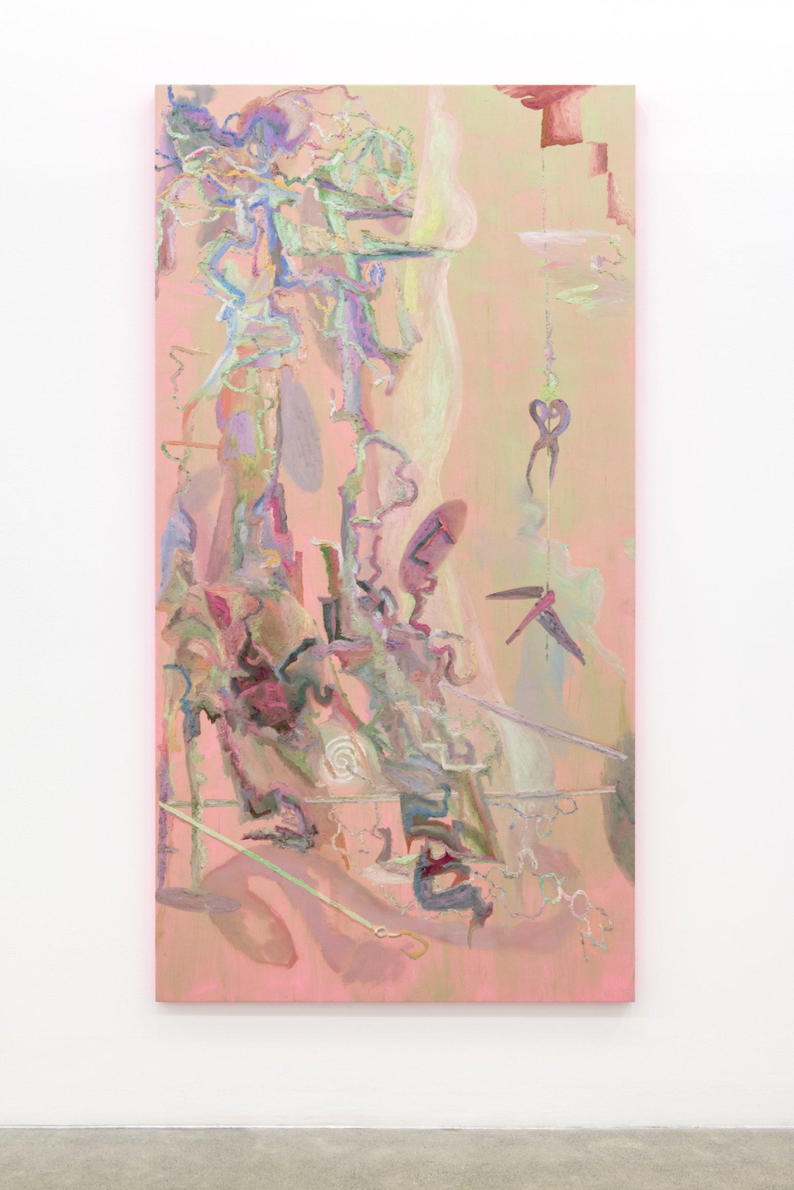 Rebecca Brewer,Bones Stuck Underground, 2017, oil and fabric on panel, 83 x 43 in. (211 x 109 cm)