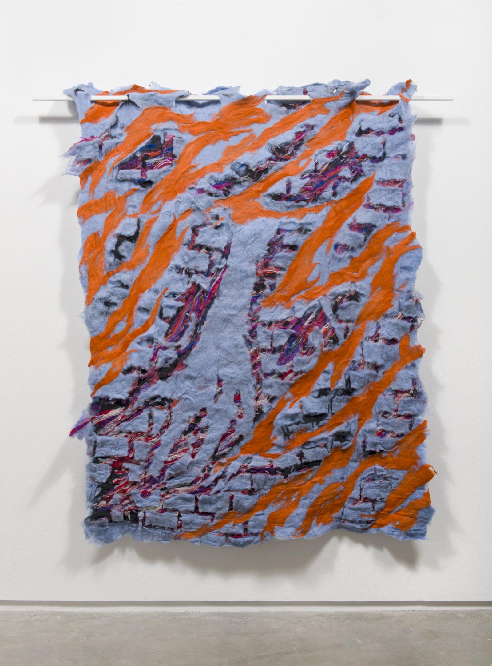 Rebecca Brewer,Carroll, 2016, wool felt, painted metal, 84 x 77 x 8 in. (213 x 196 x 20 cm)