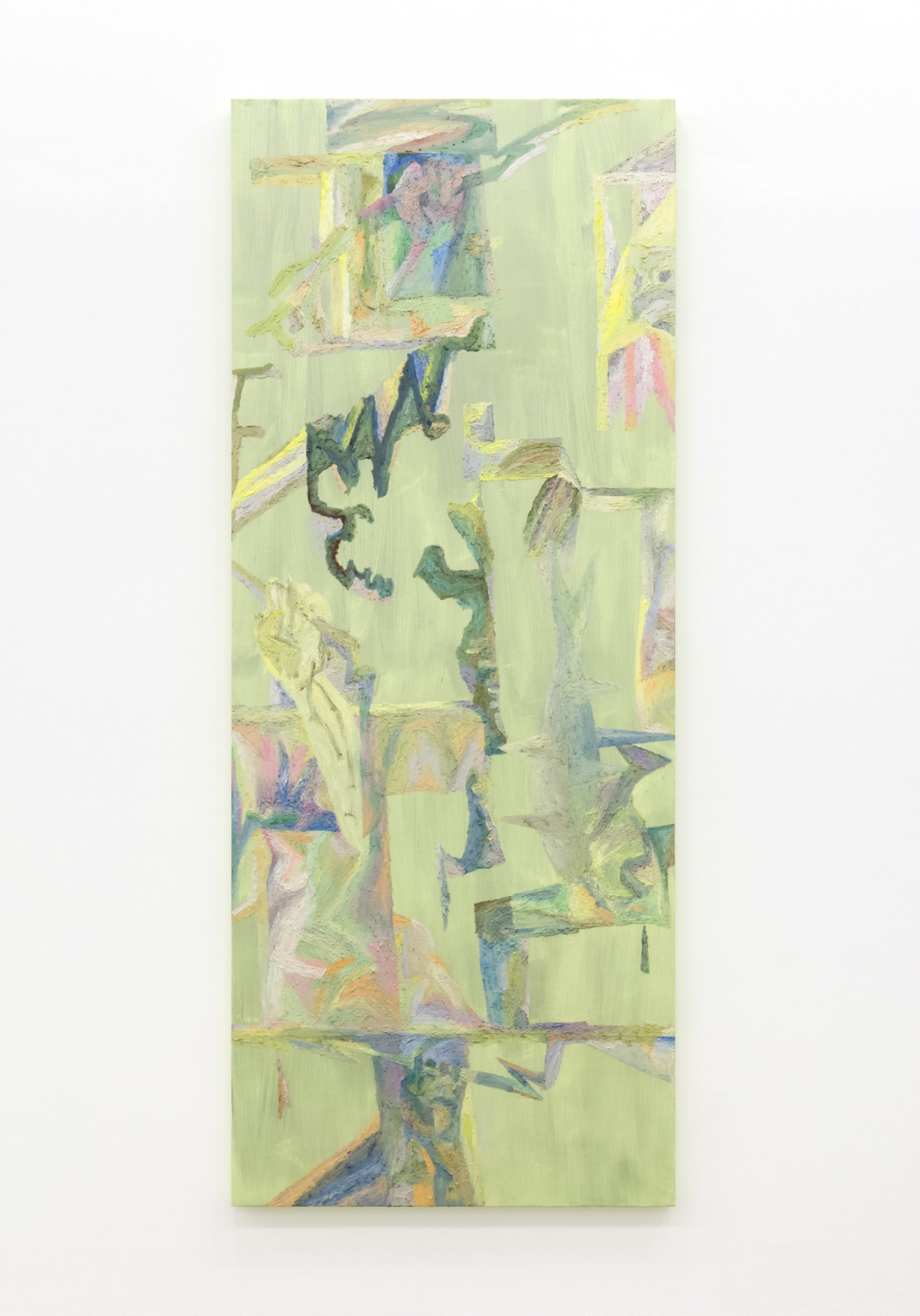 Rebecca Brewer,Fire Stuck in Wood, 2017, oil on fabric on panel, 83 x 33 in. (211 x 84 cm)