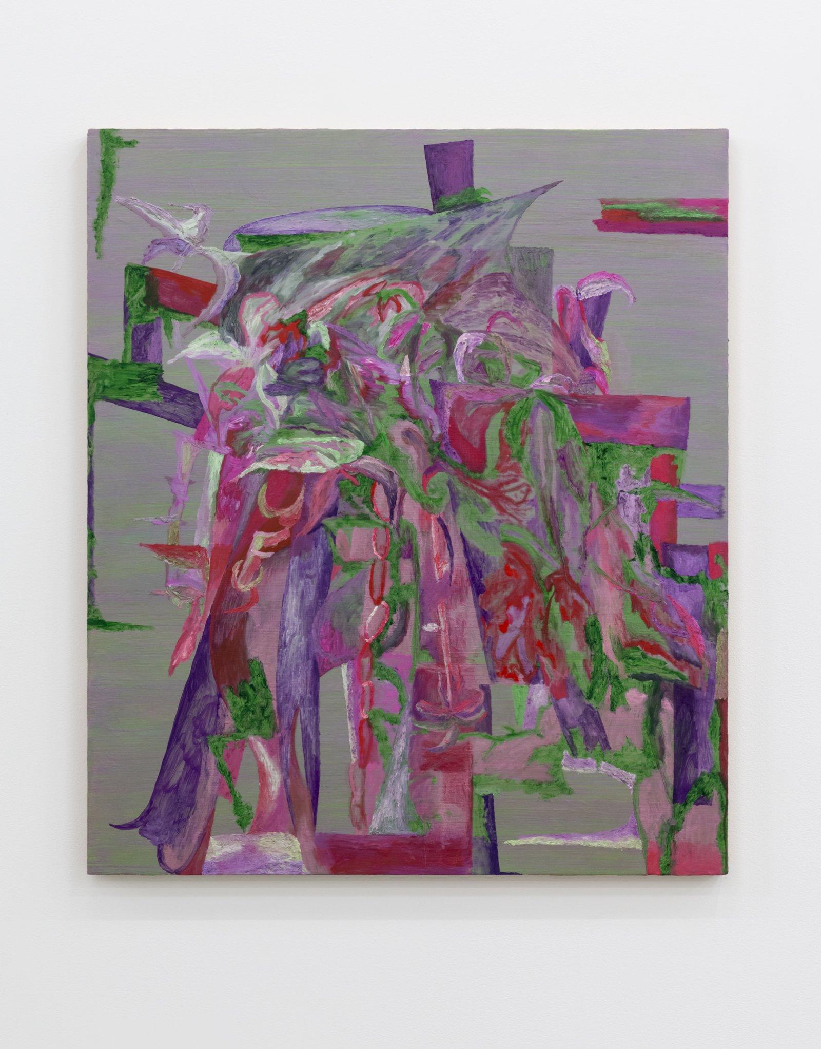 Rebecca Brewer,Flower Dumpster, 2018, oil on panel, 42 x 36 in. (107 x 92 cm)