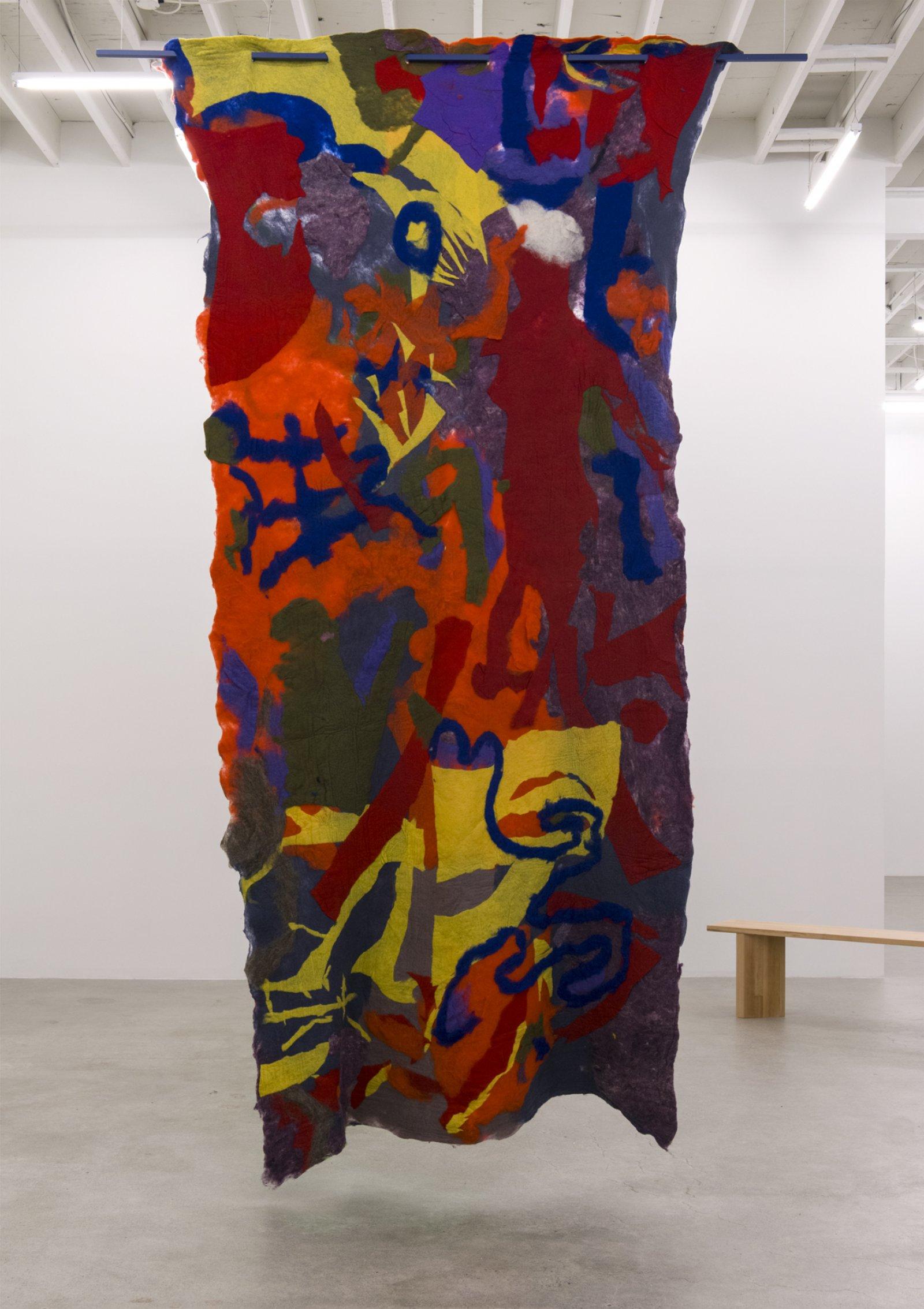 Rebecca Brewer, In V, 2016, felt, painted aluminum, 138 x 28 in. (350 x 70 cm) by Rebecca Brewer