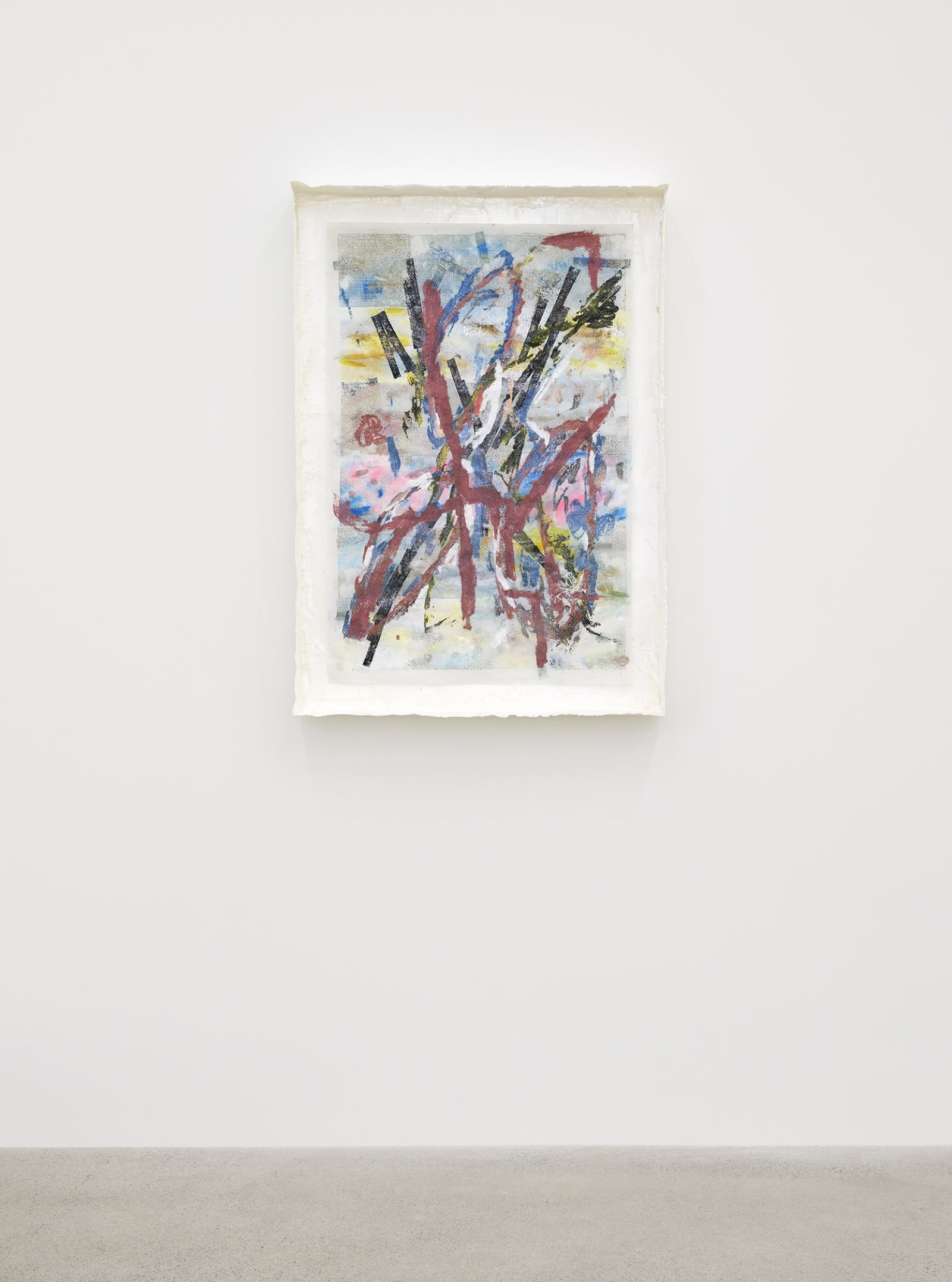 Rebecca Brewer, Live Resin: Flood Notes, 2019, urethane resin, aluminum mesh, pigment, plexiglas, embossing powder on vellum, 41 x 29 in. (104 x 74 cm)