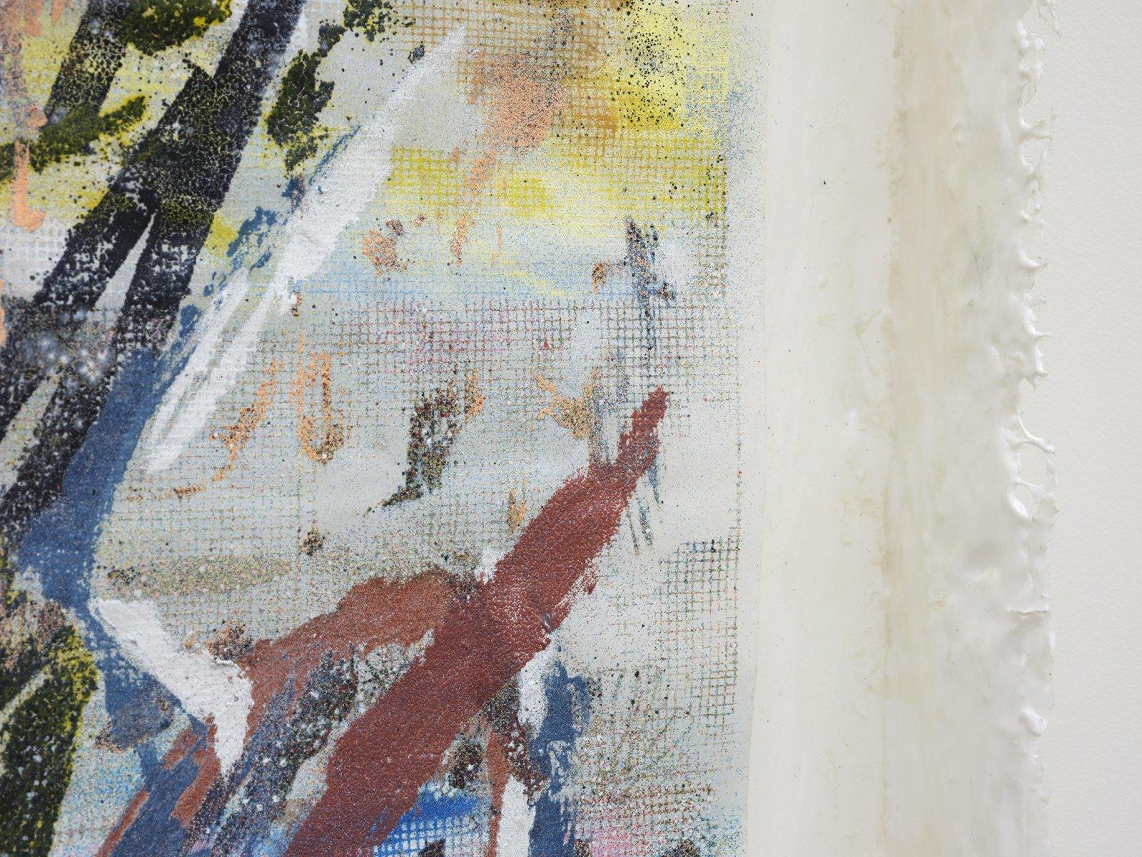 Rebecca Brewer, Live Resin: Flood Notes (detail), 2019, urethane resin, aluminum mesh, pigment, plexiglas, embossing powder on vellum, 41 x 29 in. (104 x 74 cm)