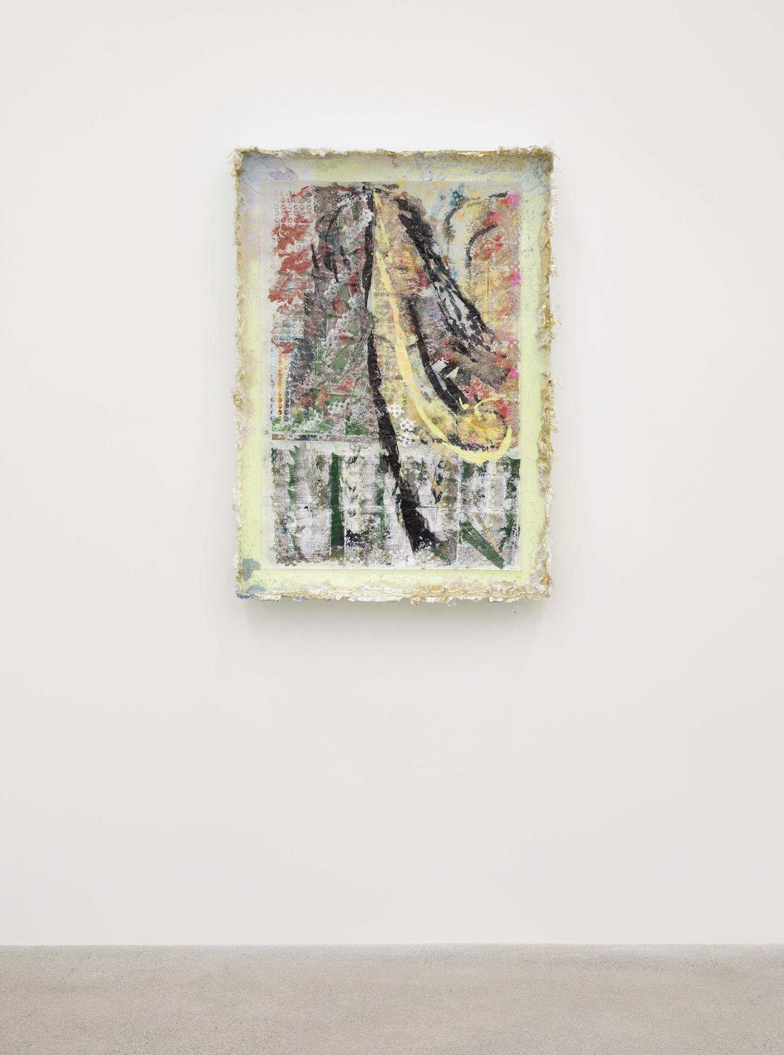 Rebecca Brewer, Live Resin: Garbage Wave, 2019, urethane resin, aluminum mesh, pigment, plexiglas, embossing powder on vellum, 41 x 29 in. (104 x 74 cm)