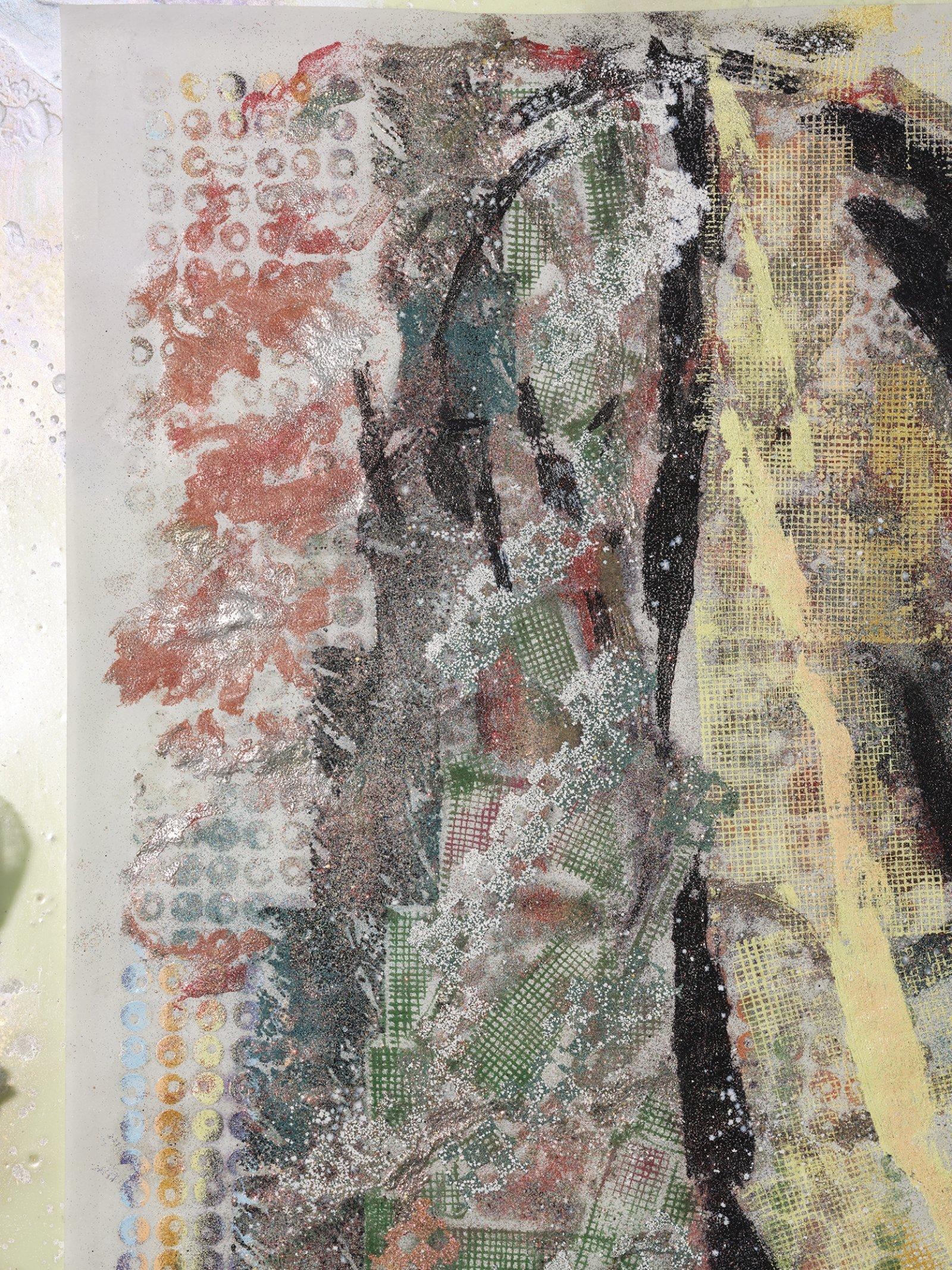 Rebecca Brewer, Live Resin: Garbage Wave (detail), 2019, urethane resin, aluminum mesh, pigment, plexiglas, embossing powder on vellum, 41 x 29 in. (104 x 74 cm)