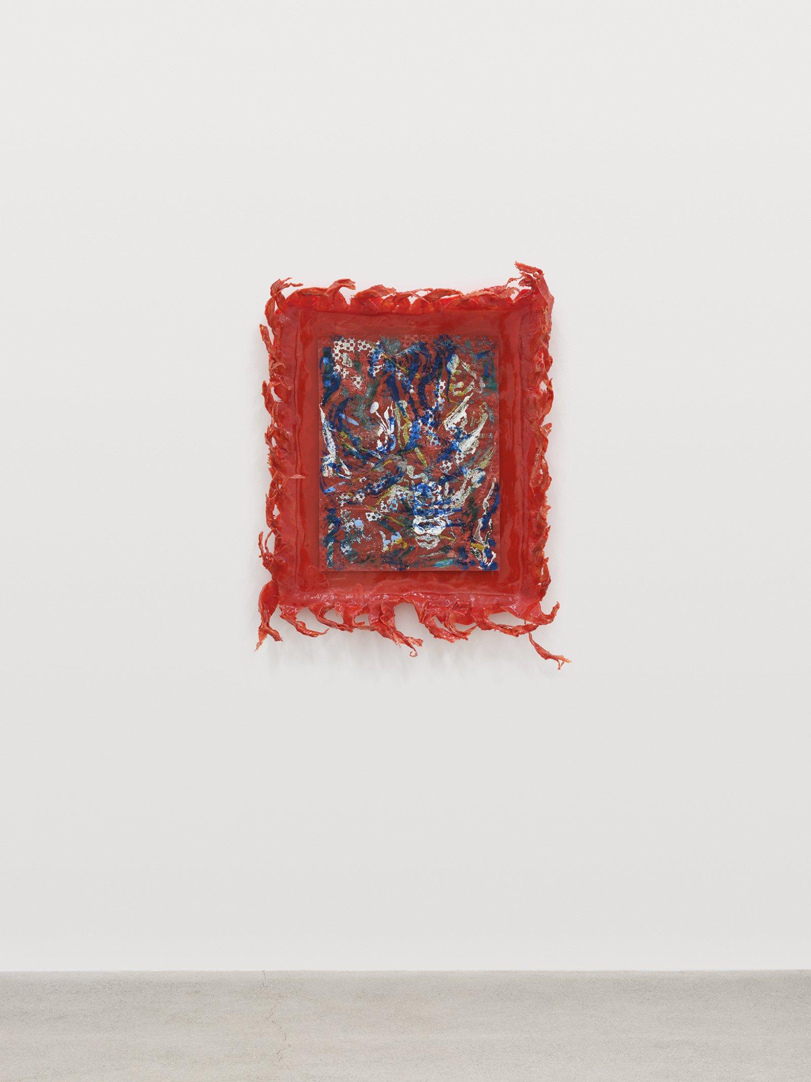 Rebecca Brewer, Live Resin: Rotten, 2020, urethane resin, plexiglas, embossing powder on vellum, 35 x 28 x 5 in. (89 x 71 x 13 cm)