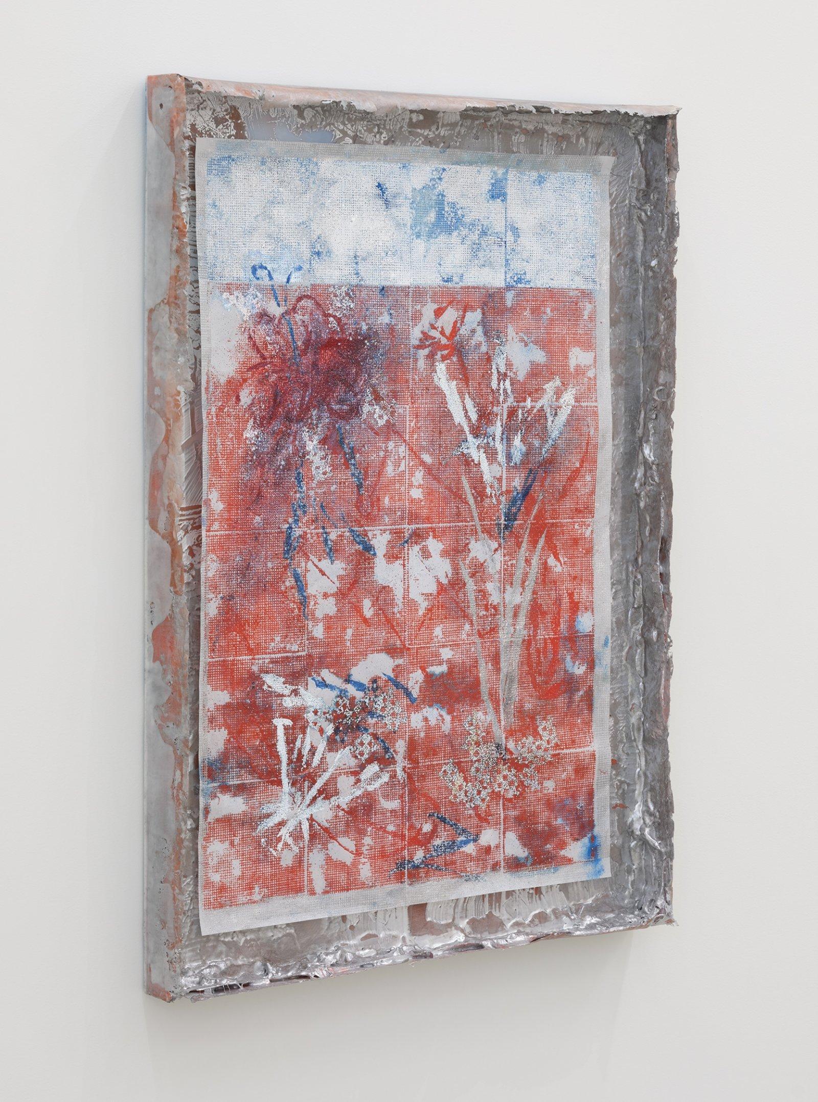 Rebecca Brewer, Live Resin: Salt Burn, 2019, urethane resin, aluminum mesh, pigment, plexiglas, embossing powder on vellum, 41 x 29 in. (104 x 74 cm)