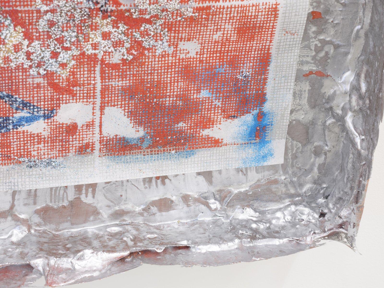 Rebecca Brewer, Live Resin: Salt Burn (detail), 2019, urethane resin, aluminum mesh, pigment, plexiglas, embossing powder on vellum, 41 x 29 in. (104 x 74 cm)