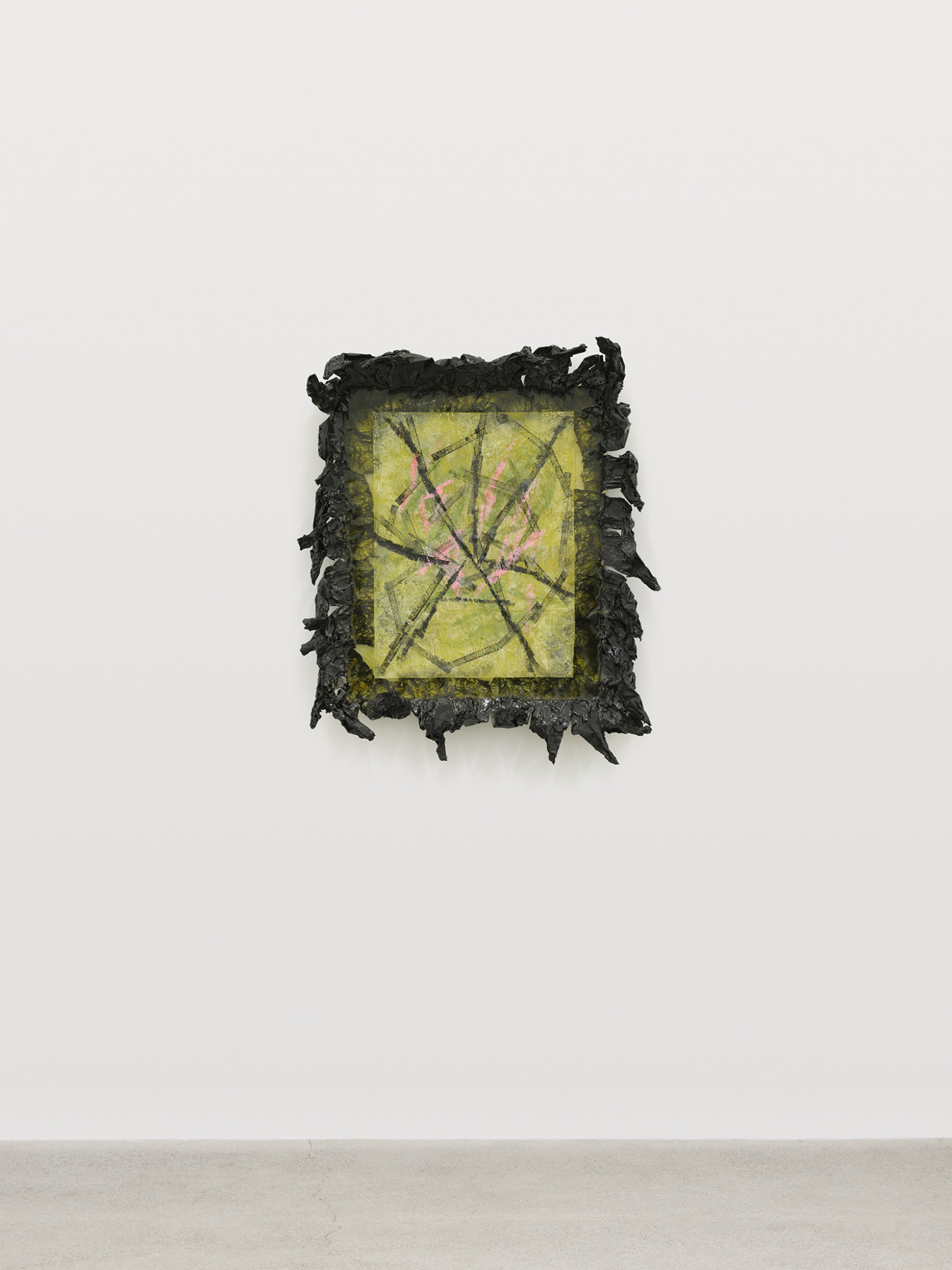 Rebecca Brewer, Live Resin: Spoiled, 2020, polyester resin, cinefoil, plexiglas, embossing powder on vellum, 37 x 31 x 7 in. (94 x 79 x 18 cm)