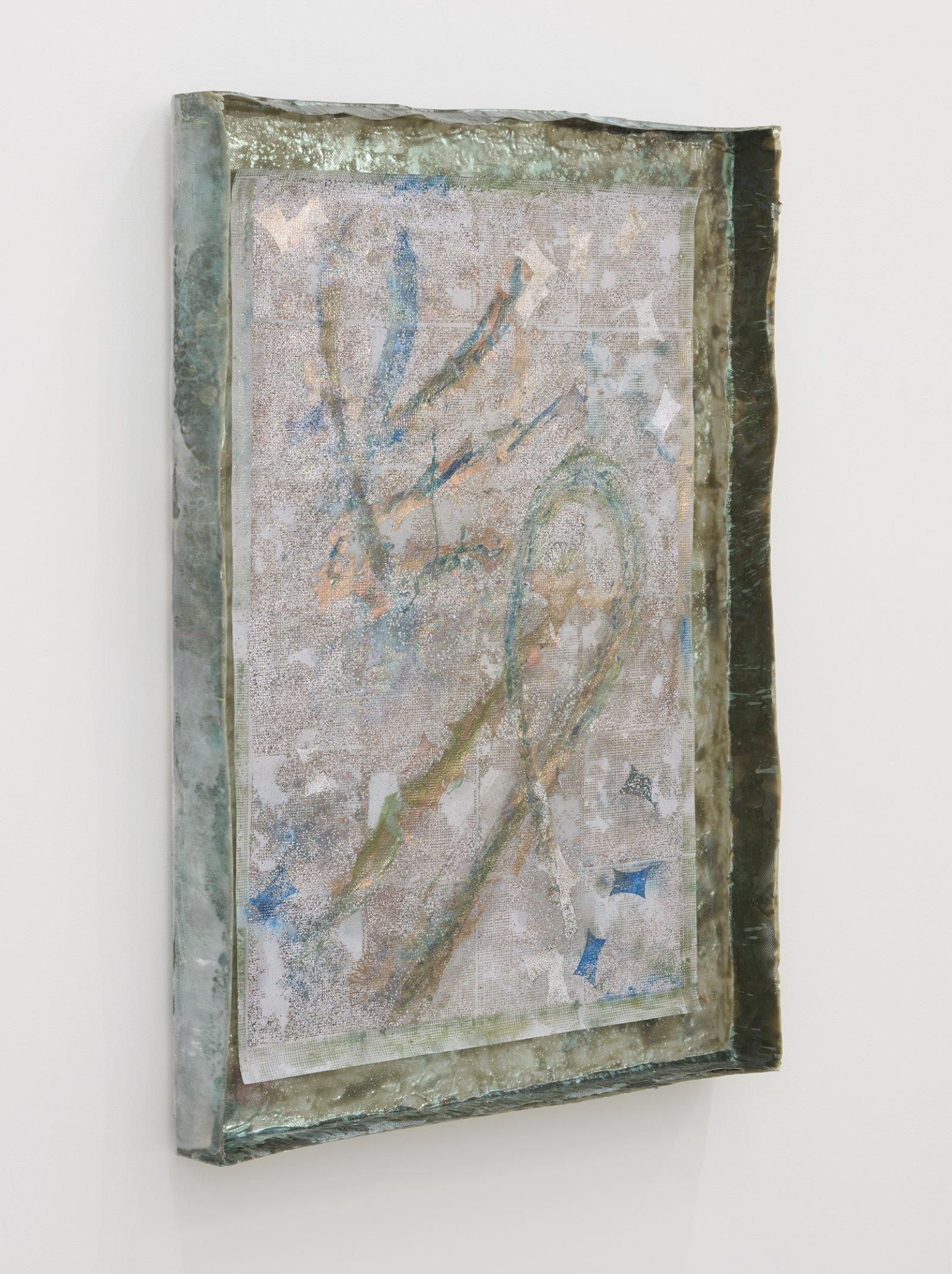 Rebecca Brewer, Live Resin: Twin Flame, 2019, urethane resin, aluminum mesh, pigment, plexiglas, embossing powder on vellum, 41 x 29 in. (104 x 74 cm)