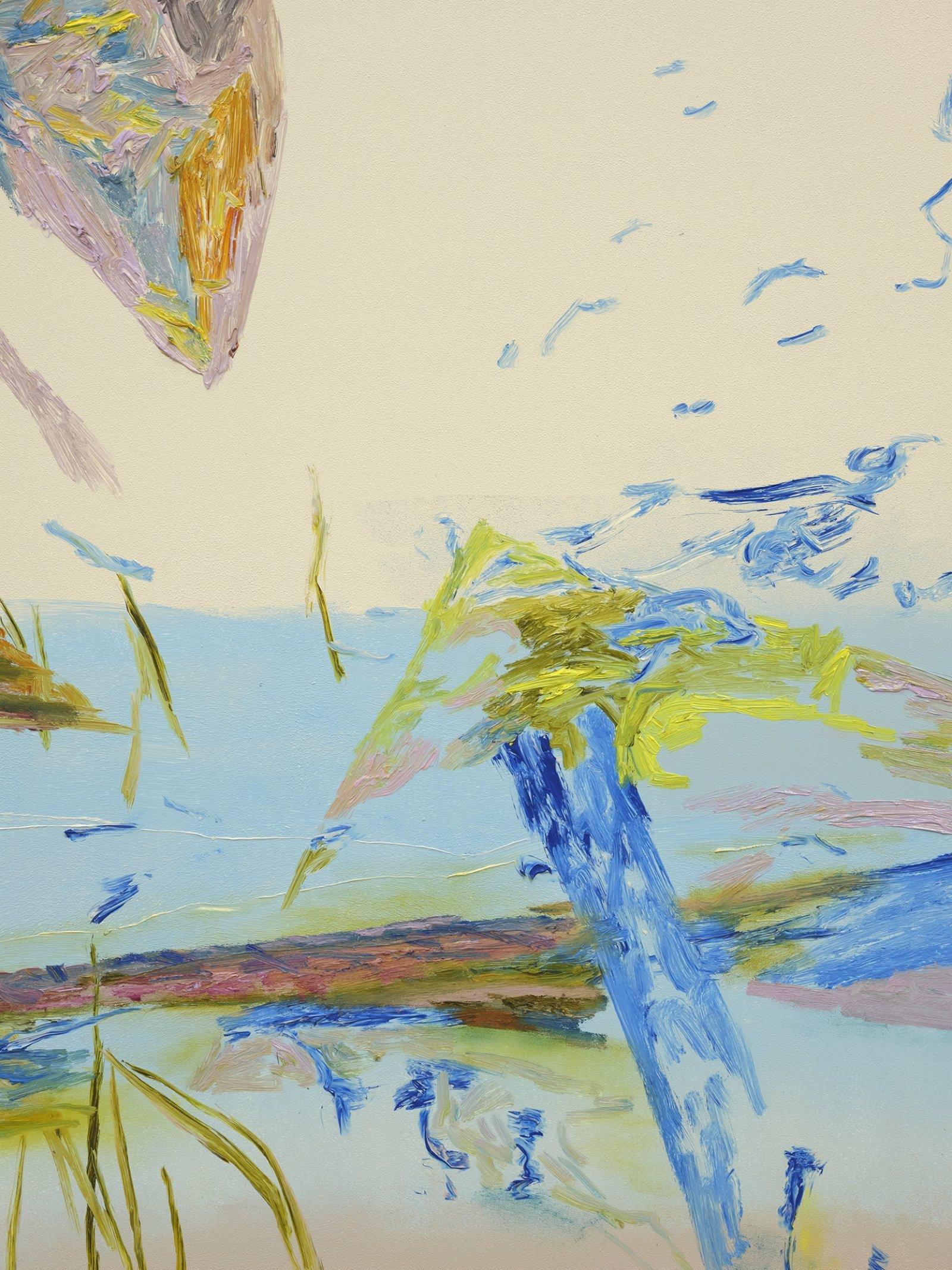 Rebecca Brewer, Makena Beach (detail), 1984, 2019, oil on wood panel, 60 x 57 in. (152 x 145 cm)