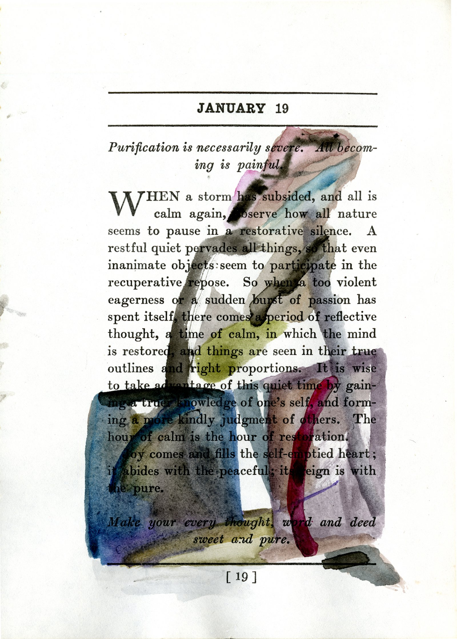 Rebecca Brewer,Nothing can prevent us from accomplishing the aims of our life (January 19), 2012, watercolour on paper (page from James Allen's Meditations (1910)), 7 x 14 in. (17 x 35 cm)
