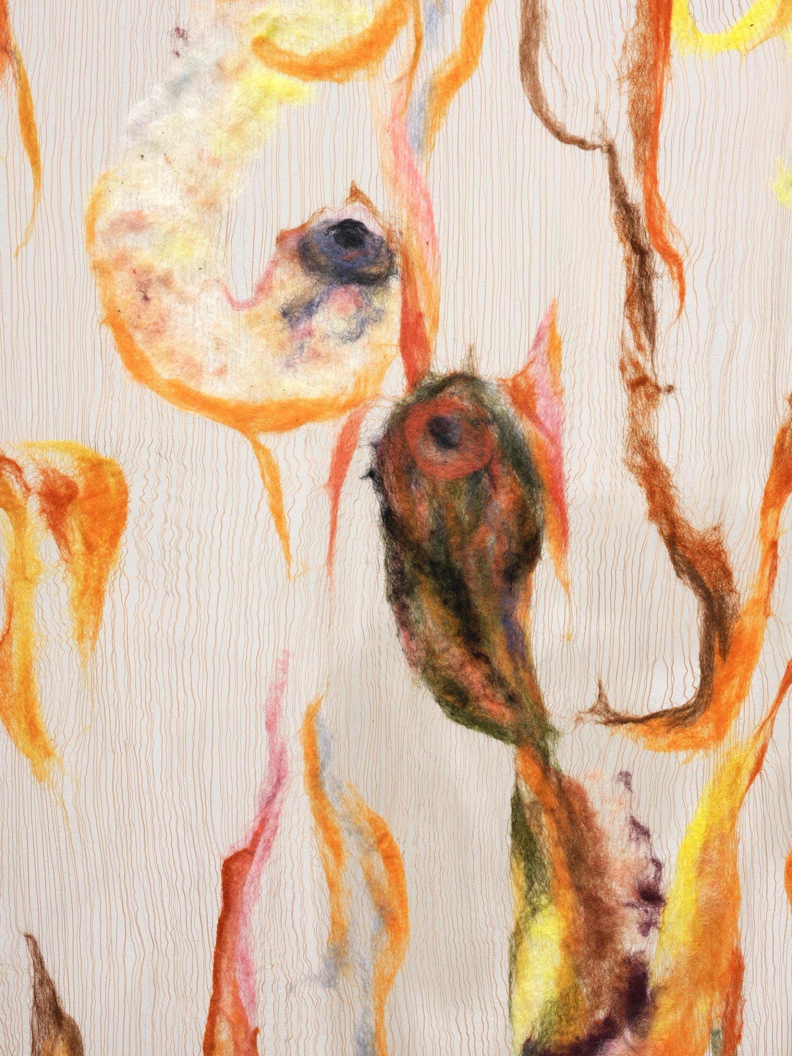 Rebecca Brewer, Scrim: Carnage (detail), 2019, silk, wool, ball chain, alligator clips, hooks, 113 x 41 in. (287 x 104 cm)