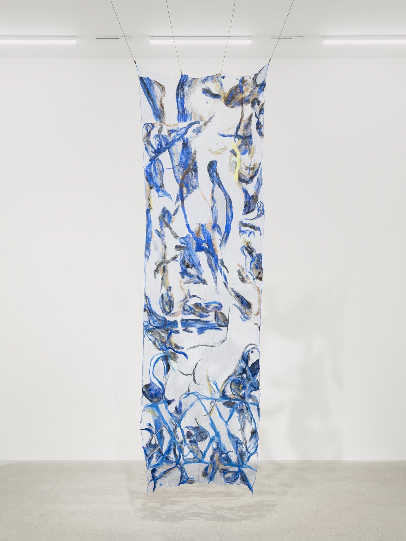 Rebecca Brewer, Scrim: Dagger, 2019, silk gauze, wool, ball chain, alligator clips, 132 x 45 in. (335 x 113 cm)