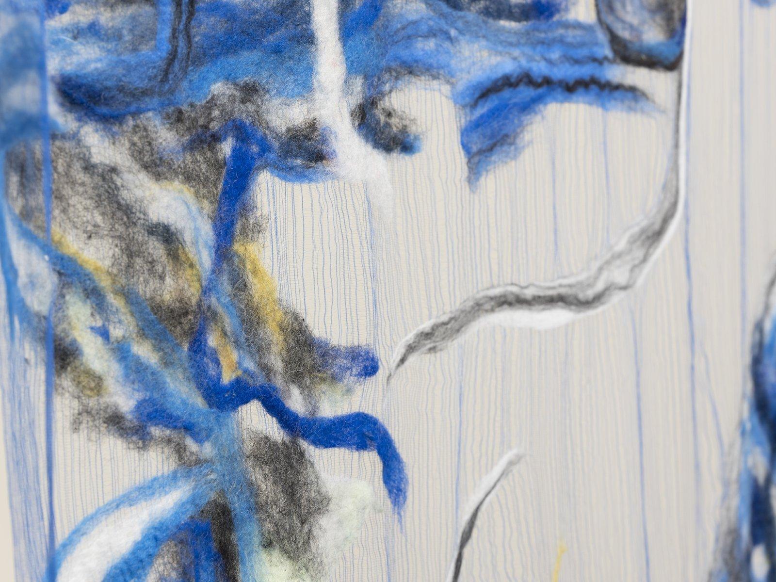 Rebecca Brewer, Scrim: Dagger (detail), 2019, silk gauze, wool, ball chain, alligator clips, 132 x 45 in. (335 x 113 cm)