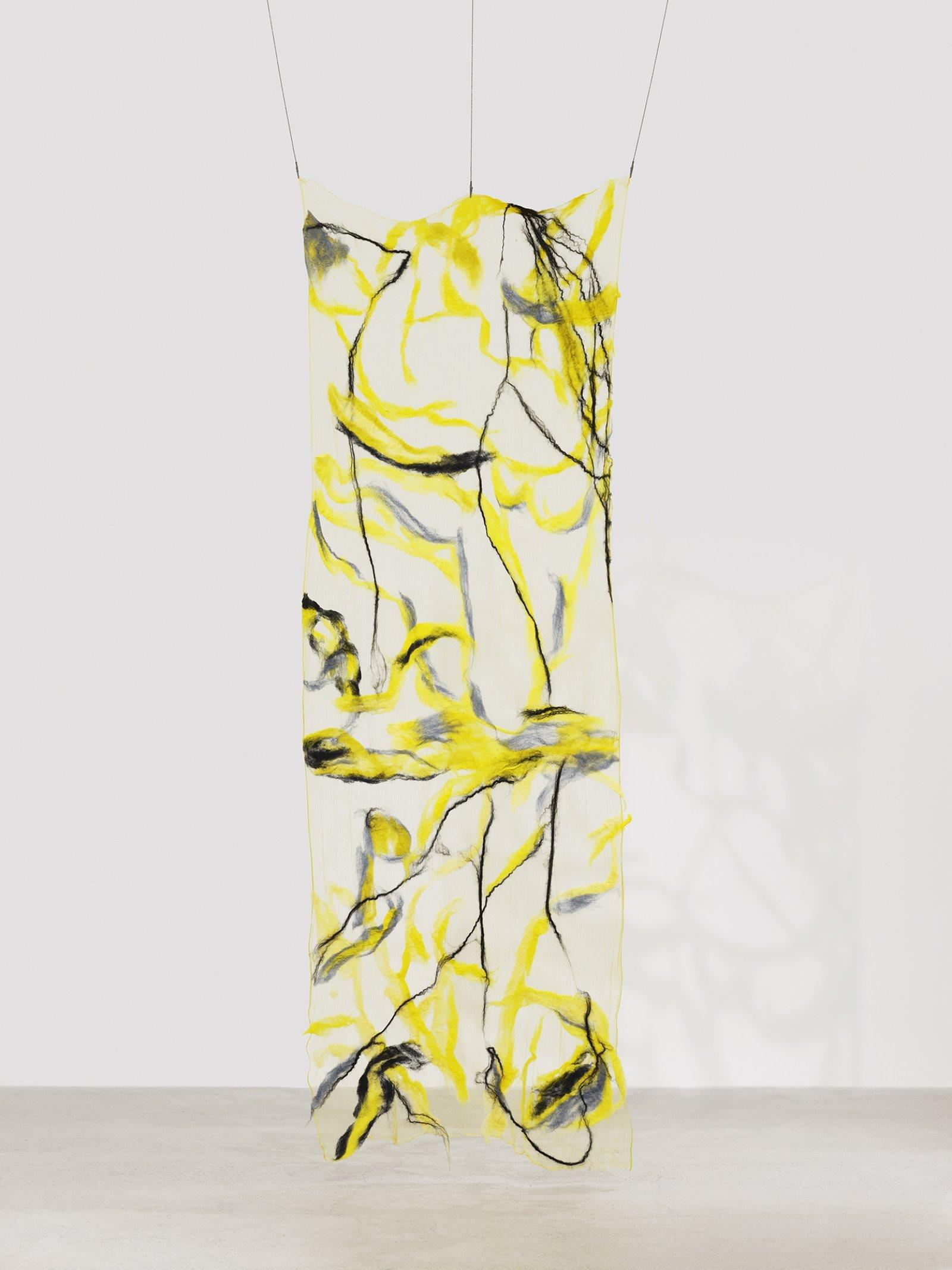 Rebecca Brewer, Scrim: Lush, 2019, silk, wool, ball chain, alligator clips, hooks, 113 x 39 in. (287 x 99 cm)