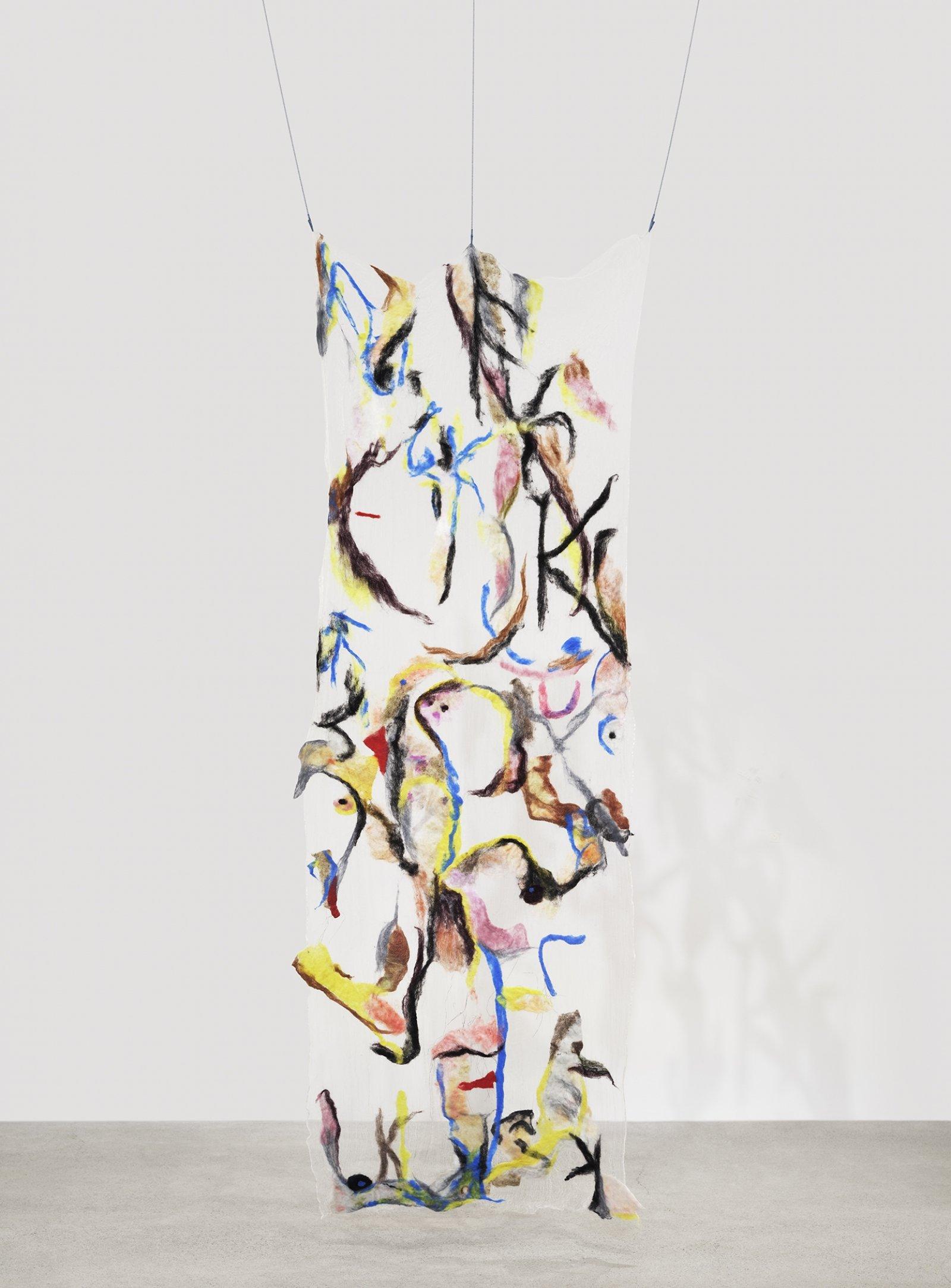 Rebecca Brewer, Scrim: Mayhem, 2019, silk, wool, ball chain, alligator clips, hooks, 107 x 39 in. (272 x 99 cm)