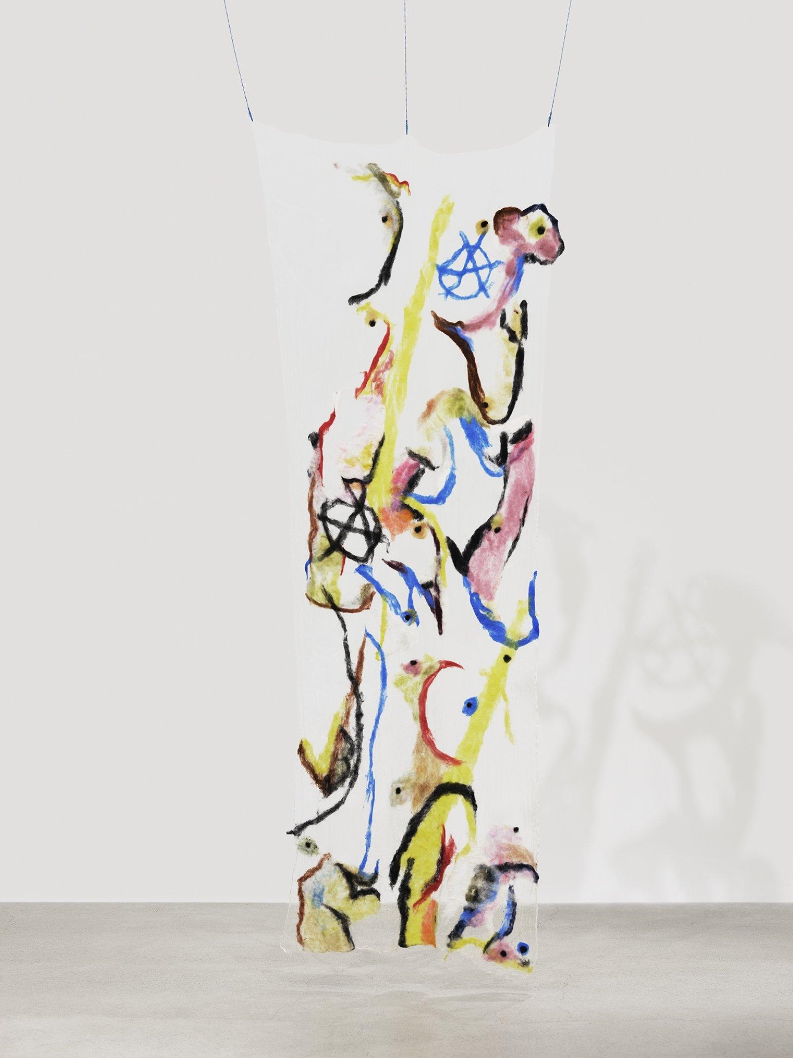 Rebecca Brewer, Scrim: Mutiny, 2019, silk, wool, ball chain, alligator clips, hooks, 108 x 39 in. (274 x 99 cm)