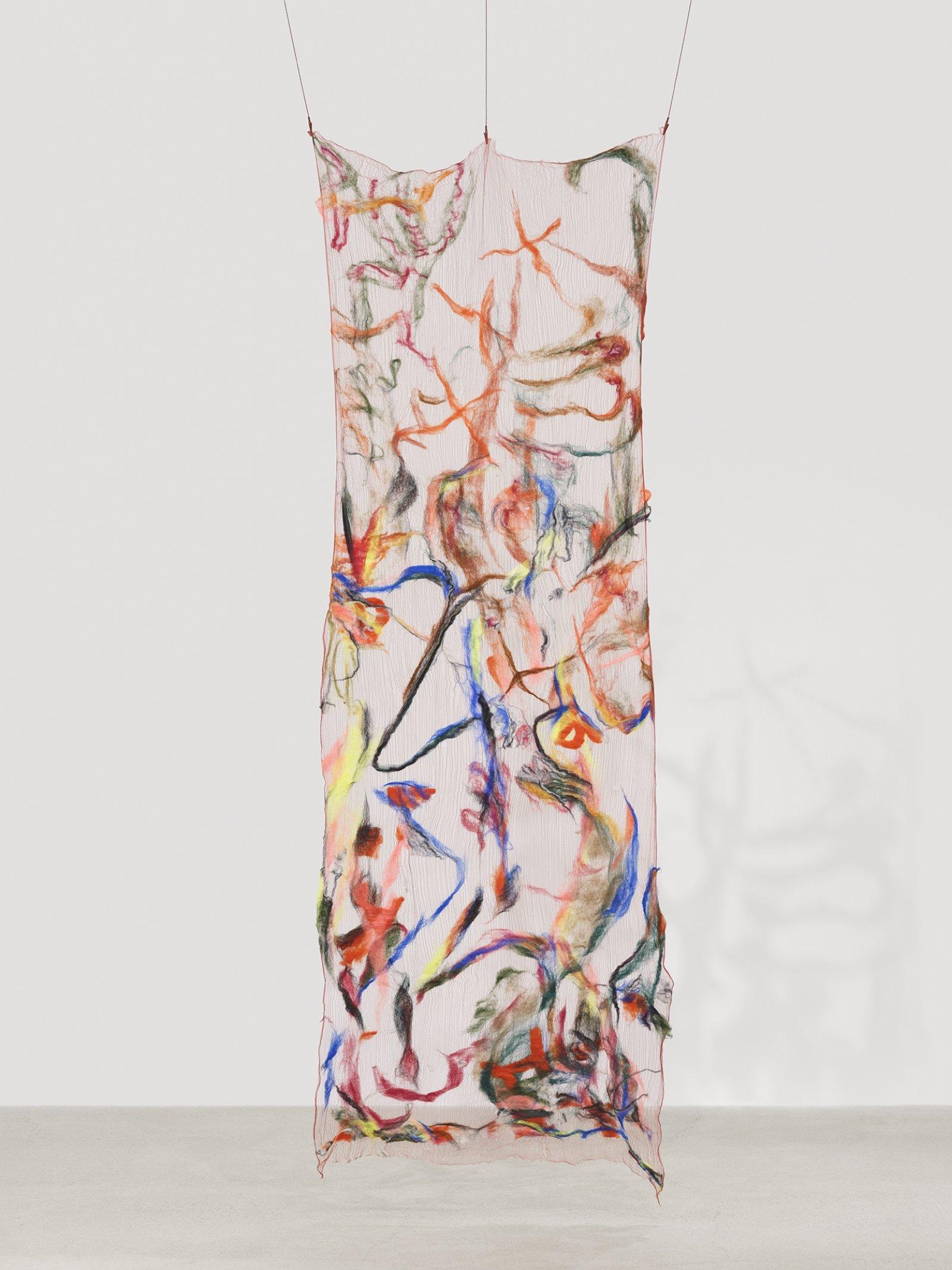 Rebecca Brewer, Scrim: Tweaker, 2019, silk, wool, ball chain, alligator clips, hooks, 103 x 39 in. (262 x 99 cm)