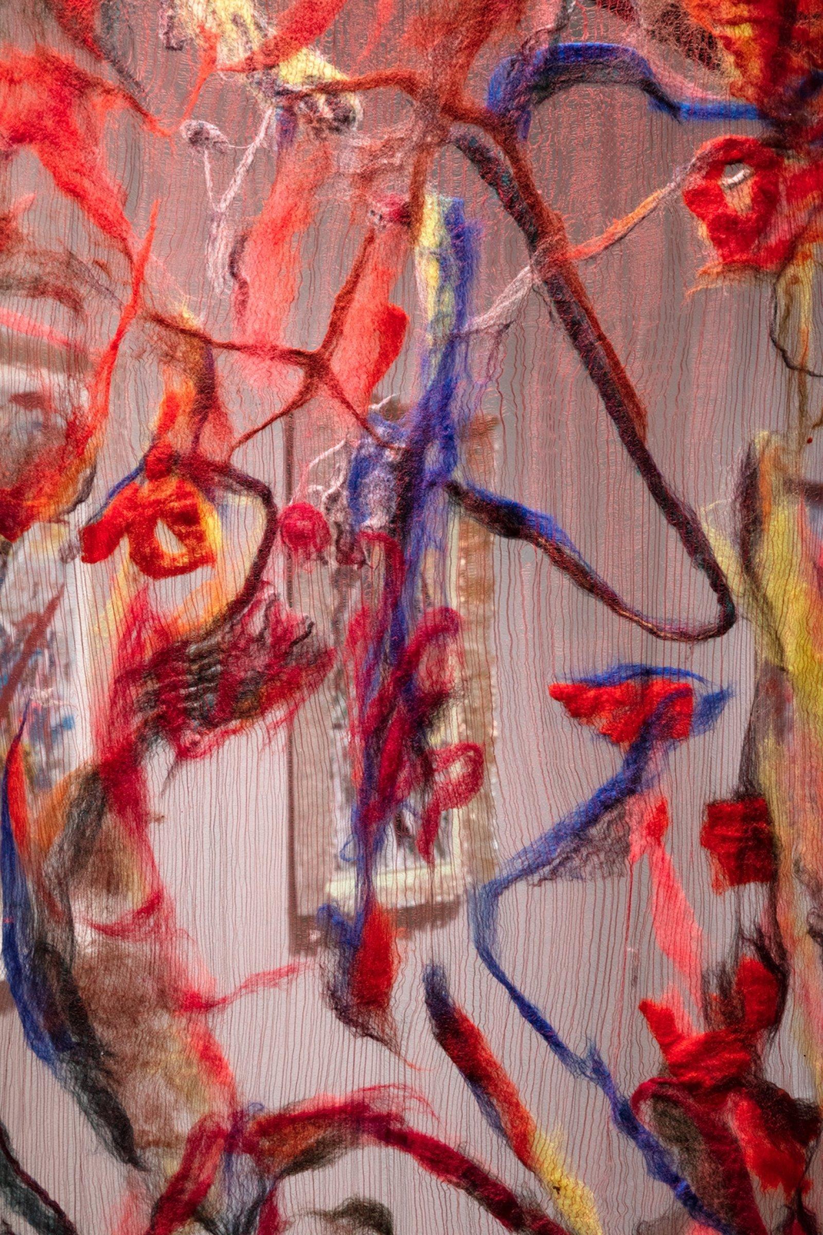 Rebecca Brewer, Scrim: Tweaker (detail), 2019, silk, wool, ball chain, alligator clips, hooks, 103 x 39 in. (262 x 99 cm). Installation view, Waves and Waves, Oakville Galleries, Oakville, 2019