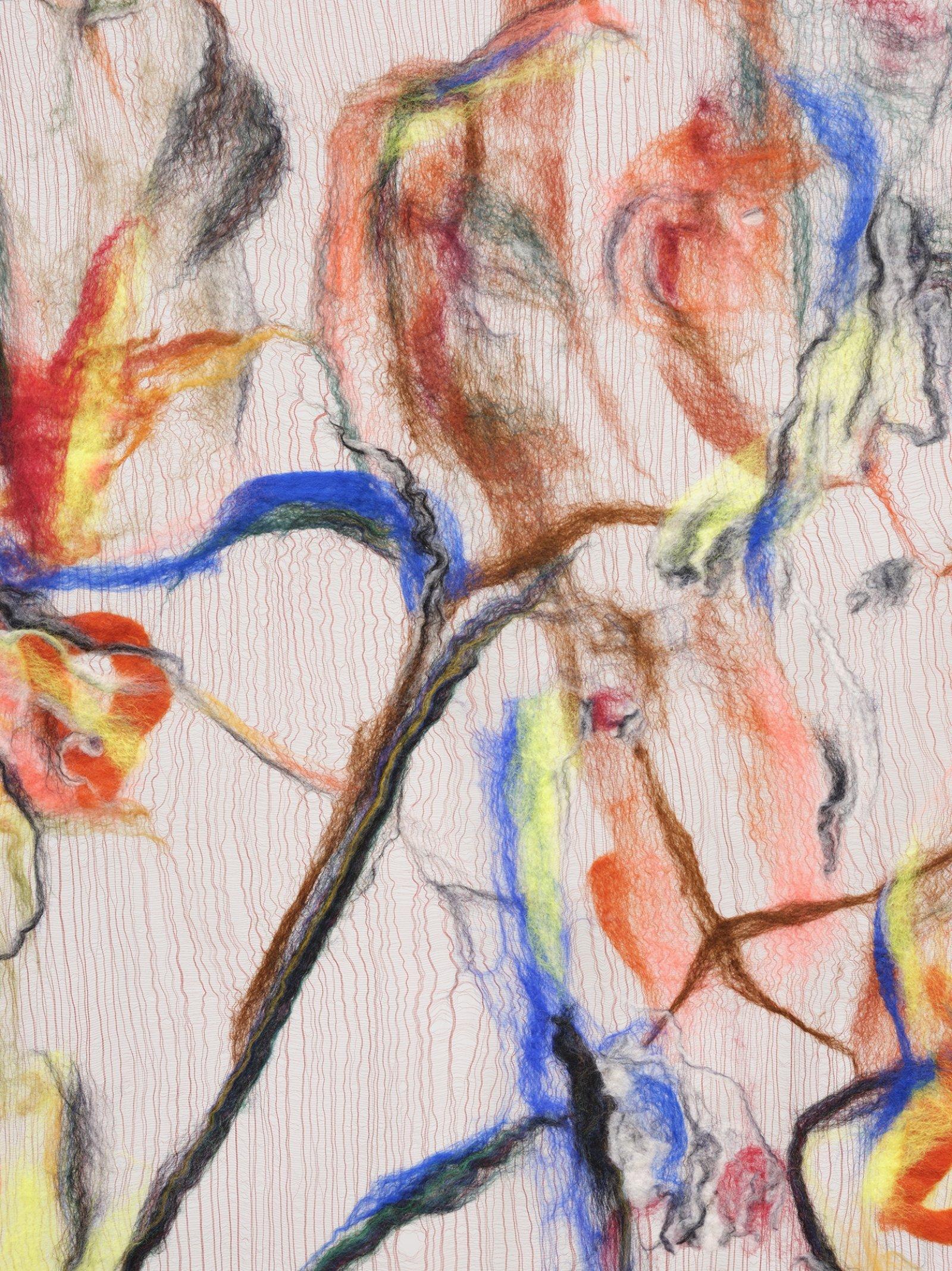 Rebecca Brewer, Scrim: Tweaker (detail), 2019, silk, wool, ball chain, alligator clips, hooks, 103 x 39 in. (262 x 99 cm)