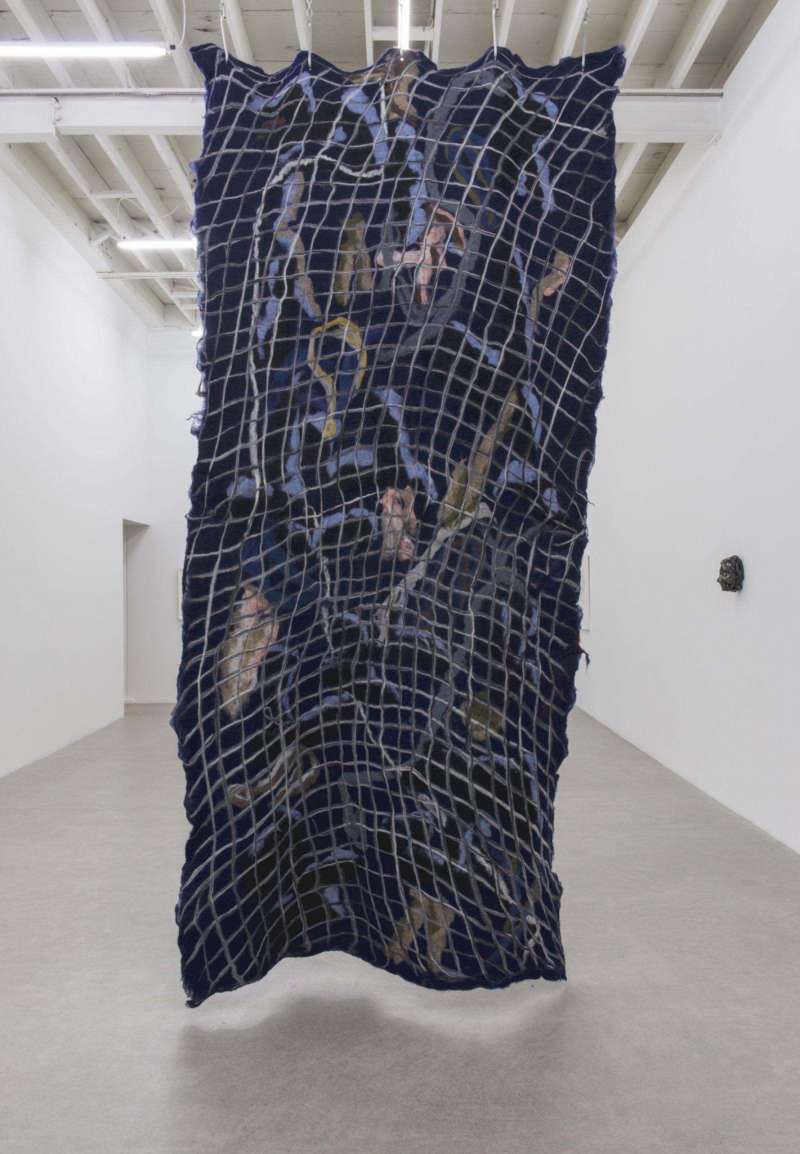 Rebecca Brewer,Silent Running, 2018, wool felt, aluminum hooks, steel chain, 187 x 62 x 12 in. (475 x 158 x 31 cm)