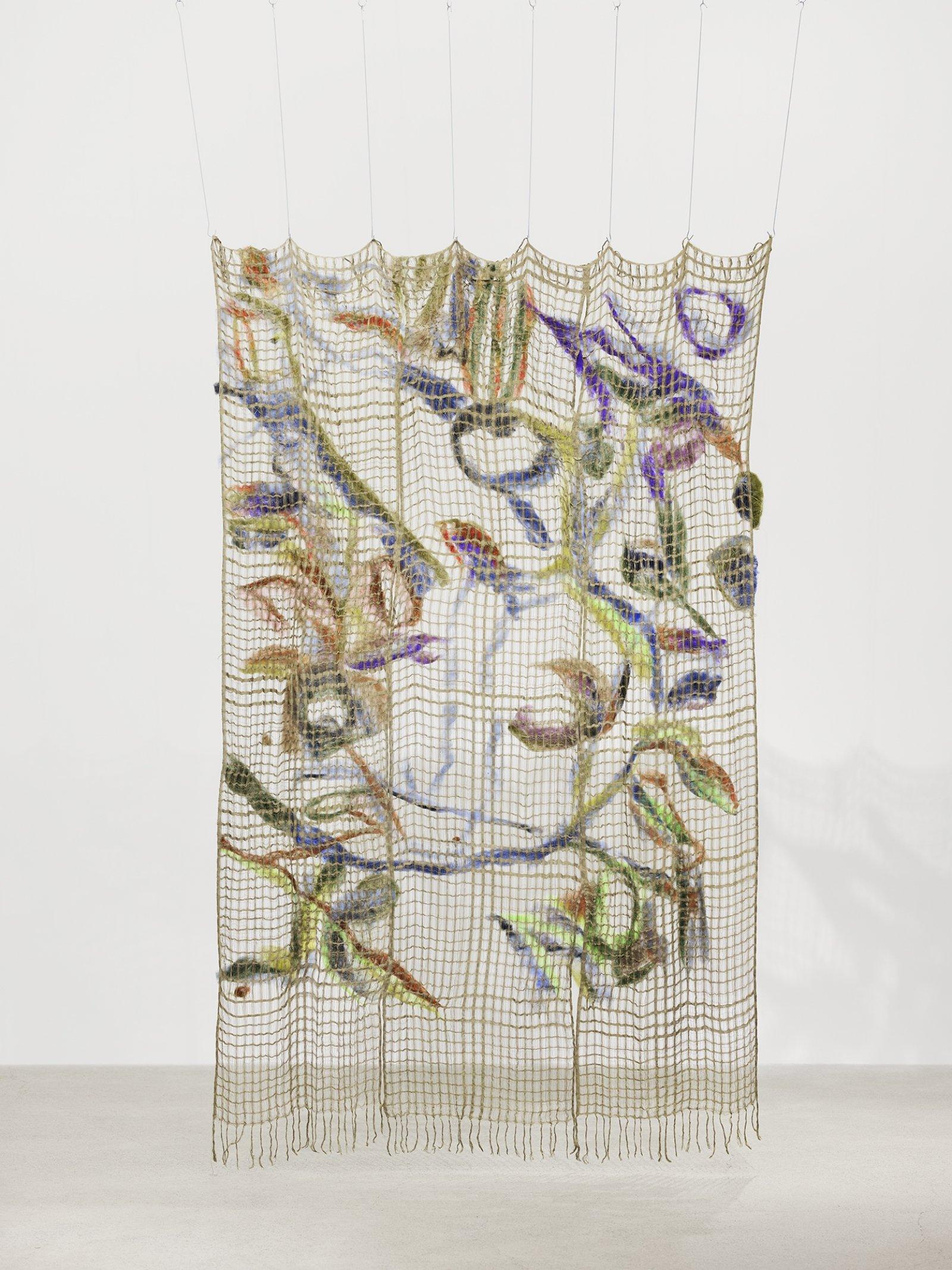 Rebecca Brewer, Surplus World, 2019, silk, wool, steel hooks, 90 x 63 in. (229 x 160 cm)