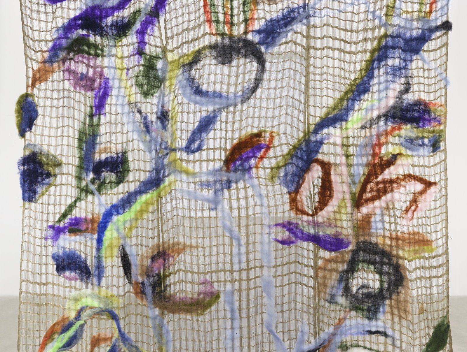 Rebecca Brewer, Surplus World (detail), 2019, silk, wool, steel hooks, 90 x 63 in. (229 x 160 cm)